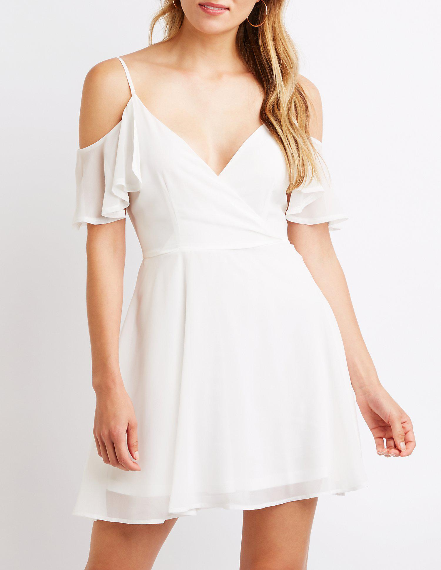 e09dc2a1e6 Lyst - Charlotte Russe Cold Shoulder Wrap Skater Dress in White