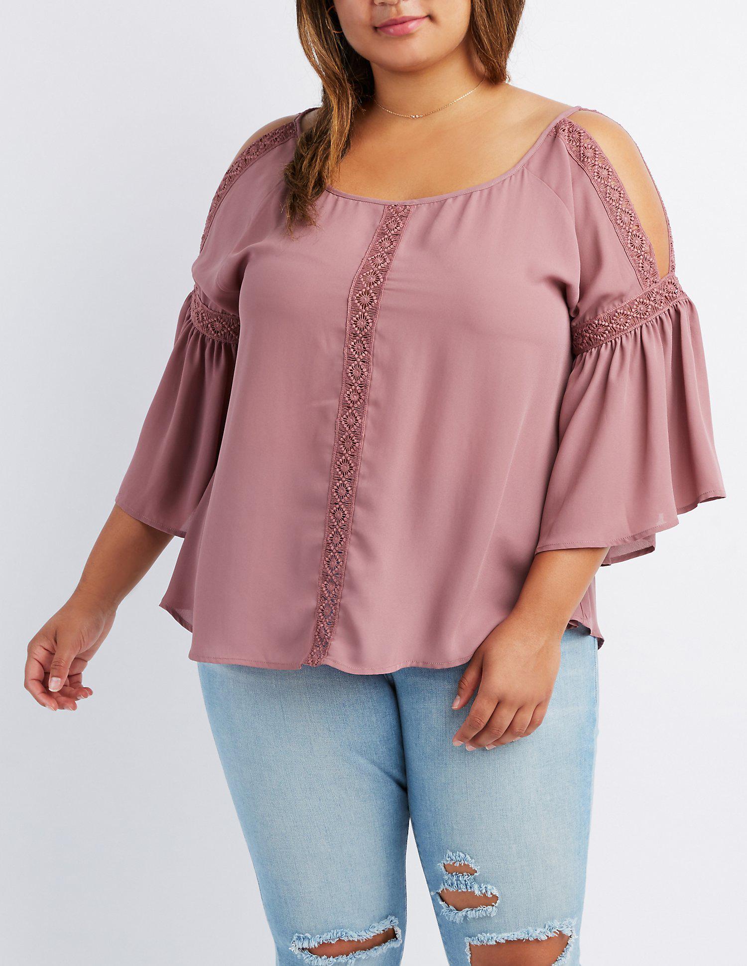 05943e411a5f11 Lyst - Charlotte Russe Plus Size Crochet-trim Split Sleeve Top in Purple