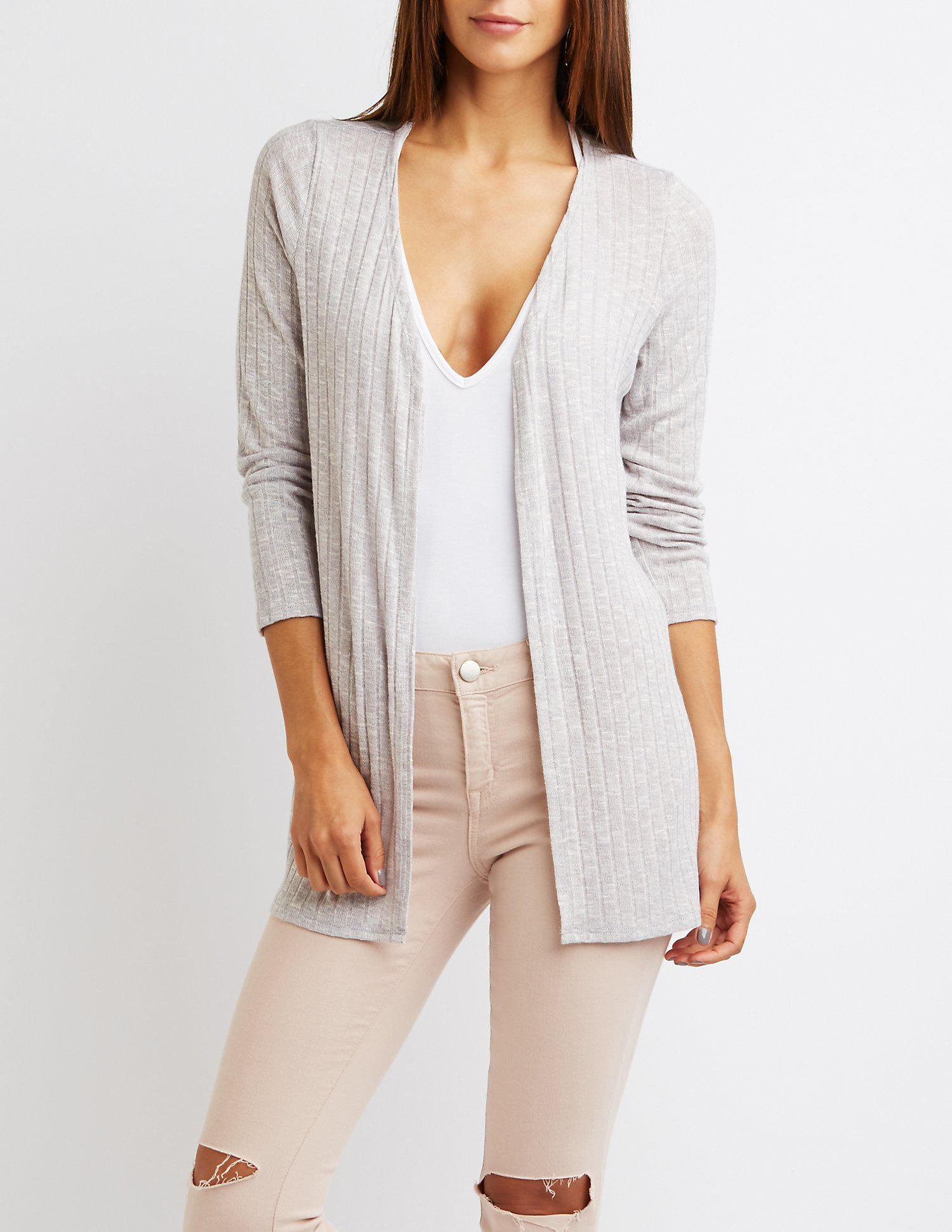 c1fd9a00a5 Lyst - Charlotte Russe Ribbed Open Front Cardigan in Gray