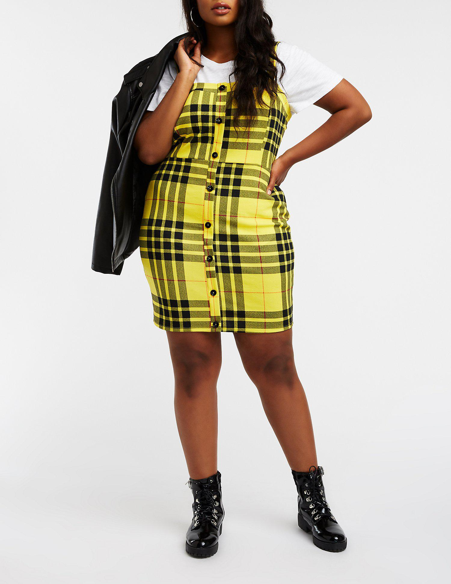 Lyst - Charlotte Russe Plus Size Plaid Button Up Dress in ...