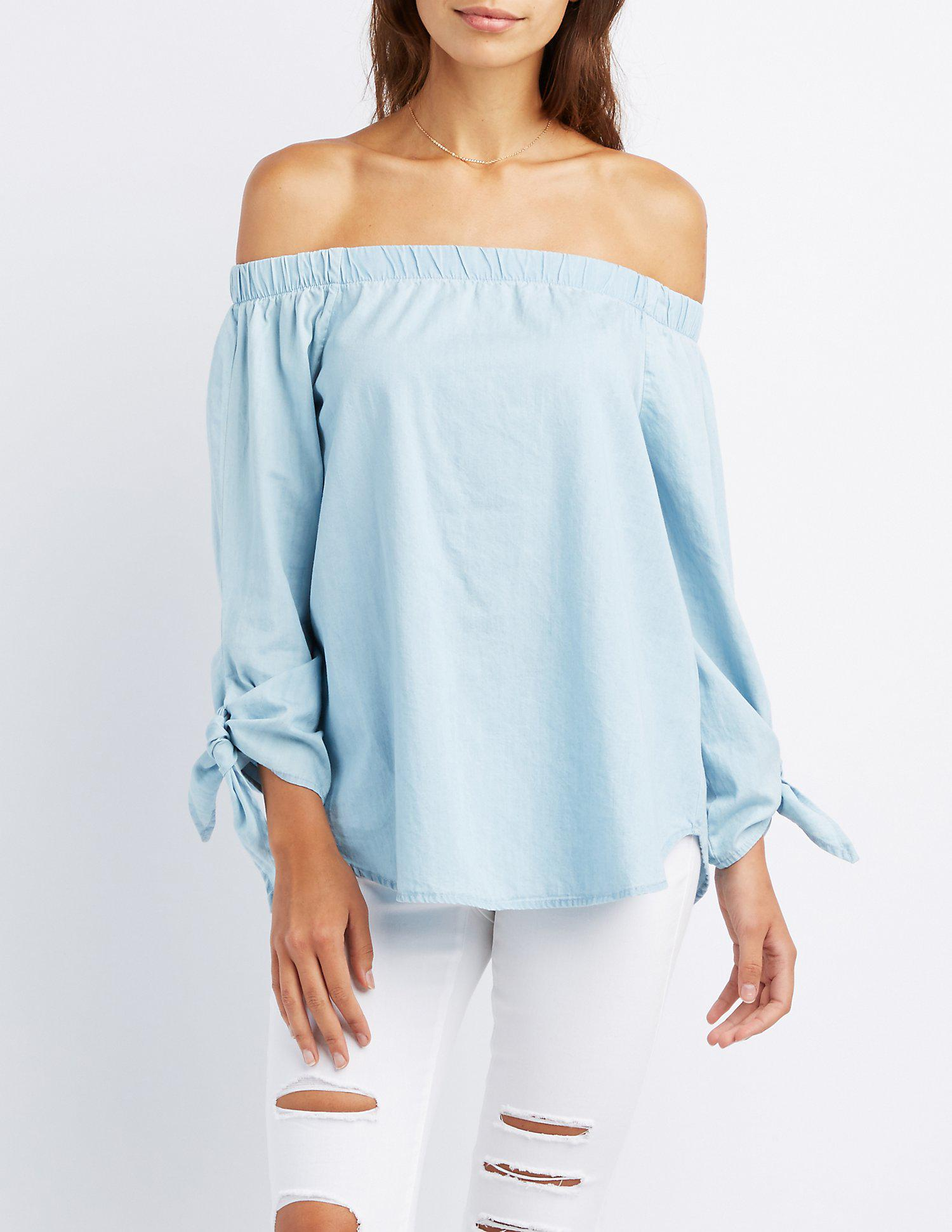 4a415dd0dfa7d4 Lyst - Charlotte Russe Chambray Off-the-shoulder Tie Sleeve Top in Blue