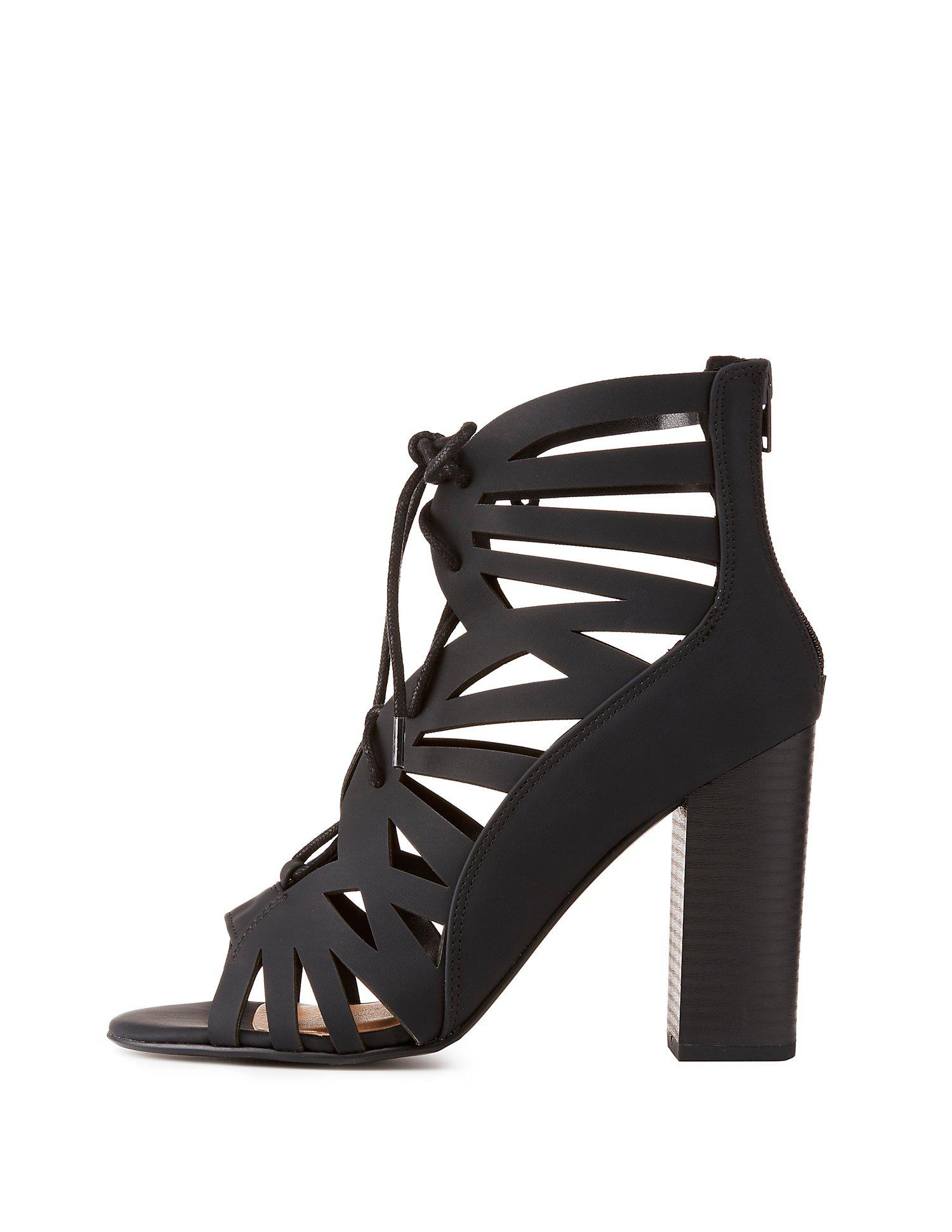 fd74fd8e8f3 Lyst - Charlotte Russe Caged Lace-up Chunky Heel Sandals in Black
