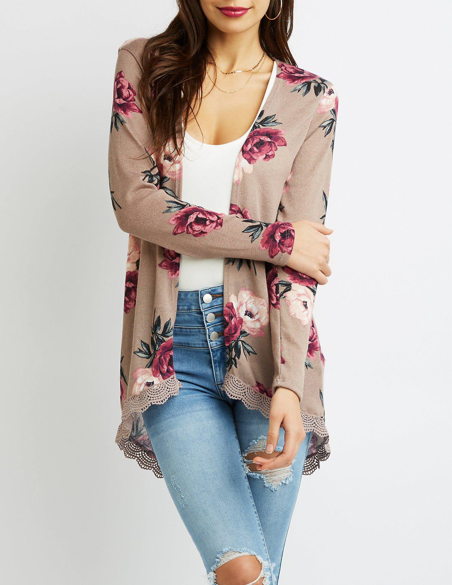 7c1d54b2c Lyst - Charlotte Russe Floral Open-front Duster Cardigan