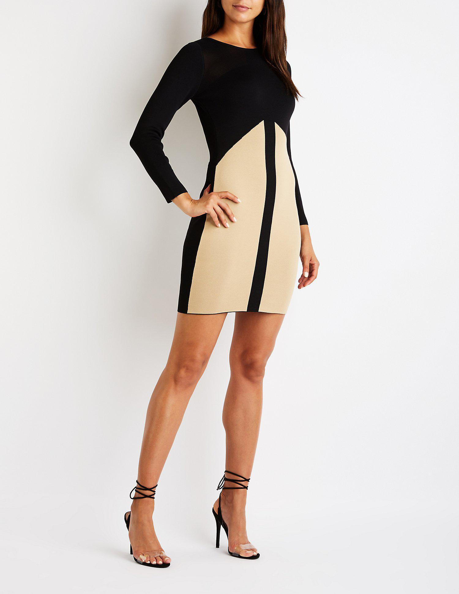 4813cb3b570 Lyst - Charlotte Russe Colorblock Midi Sweater Dress in Black