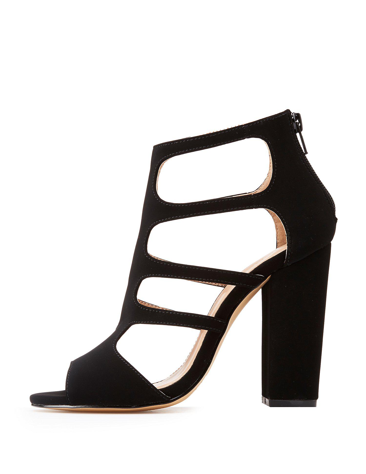 df954c07748 Lyst - Charlotte Russe Caged Peep Toe Sandals in Black