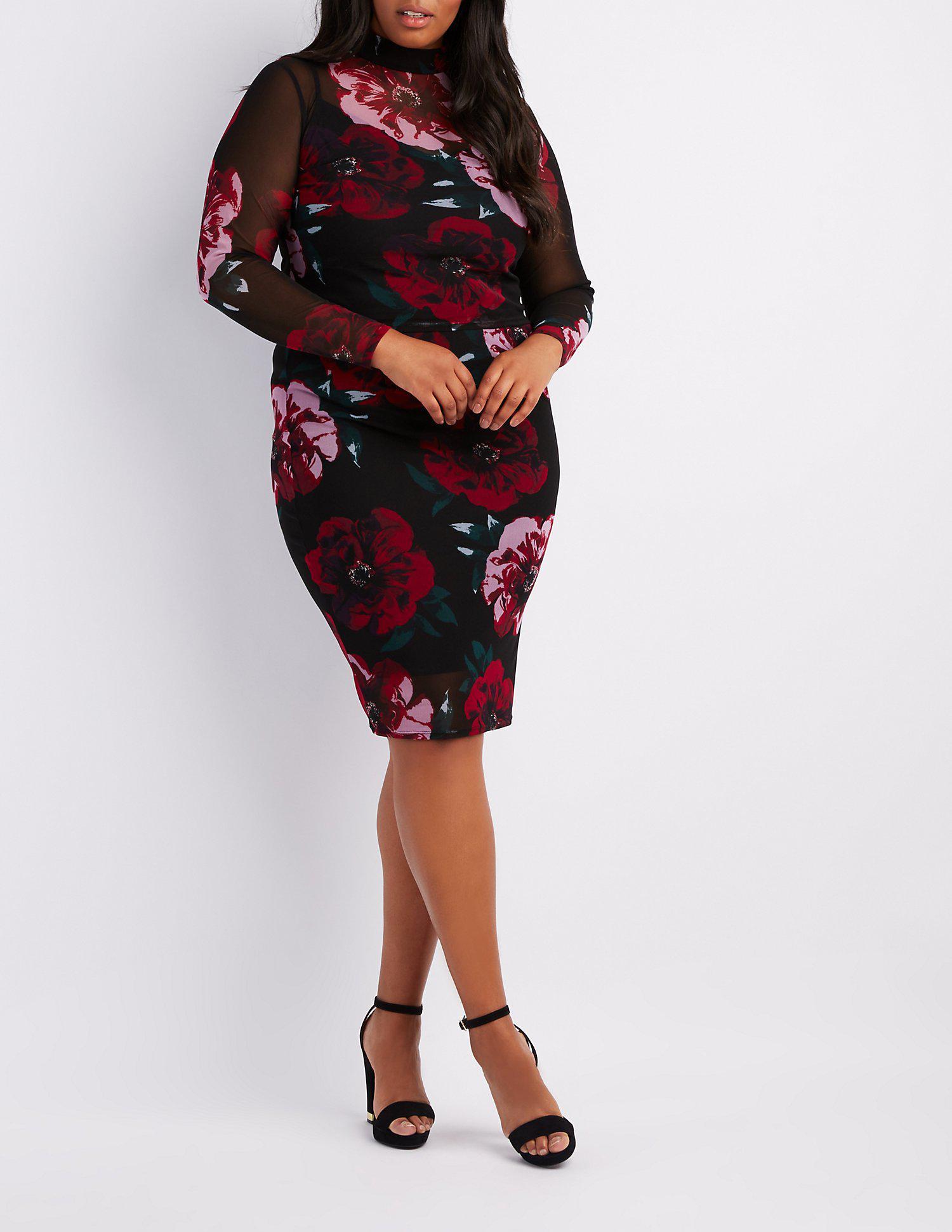 7c407a4df84 Lyst - Charlotte Russe Plus Size Floral Mesh Crop Top in Black