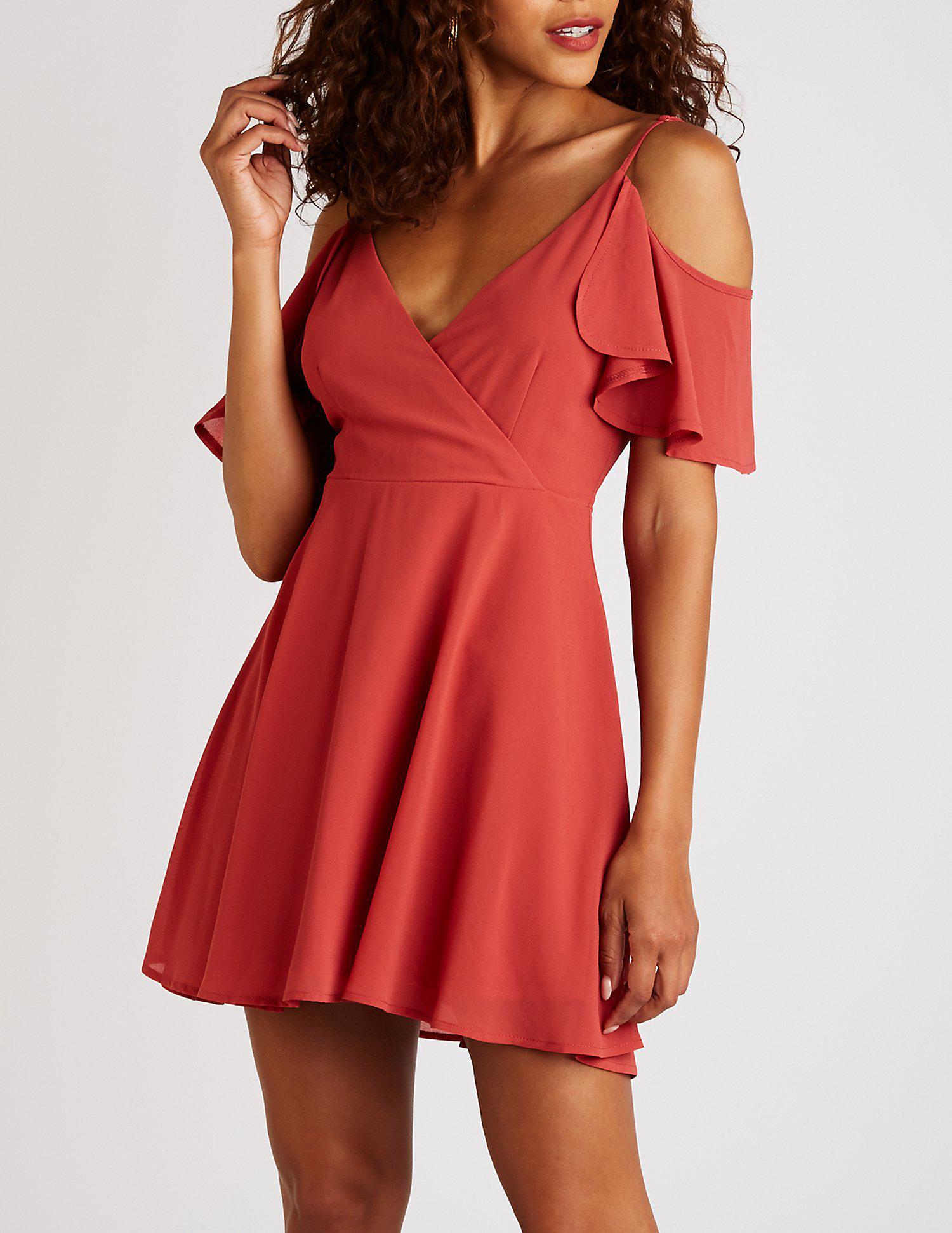 8023df3f25e Lyst - Charlotte Russe Cold Shoulder Wrap Skater Dress in Red