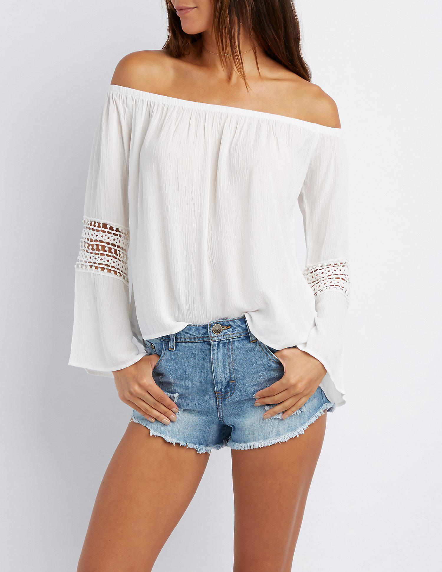 159f52b8ca1a8 Lyst - Charlotte Russe Crochet-inset Off-the-shoulder Top in White