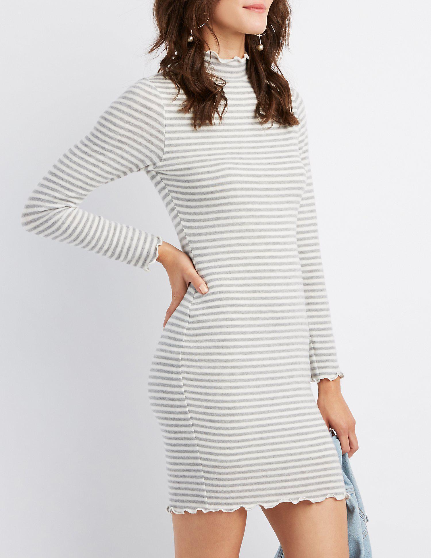 2643806a949 Lyst - Charlotte Russe Lettuc-trim Striped Sweater Dress in Gray ...