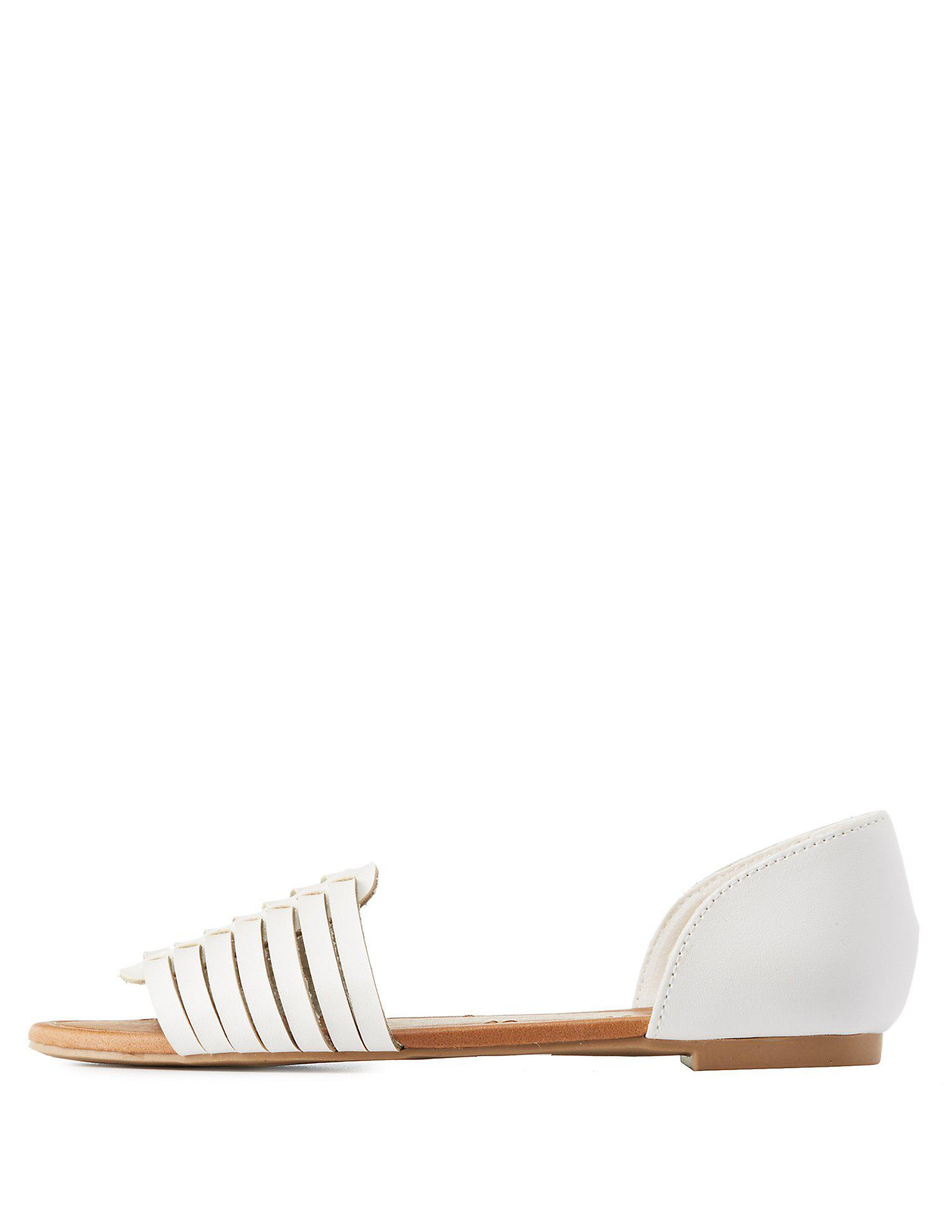 a62793922b0b Lyst - Charlotte Russe Two-piece Huarache Sandals in White