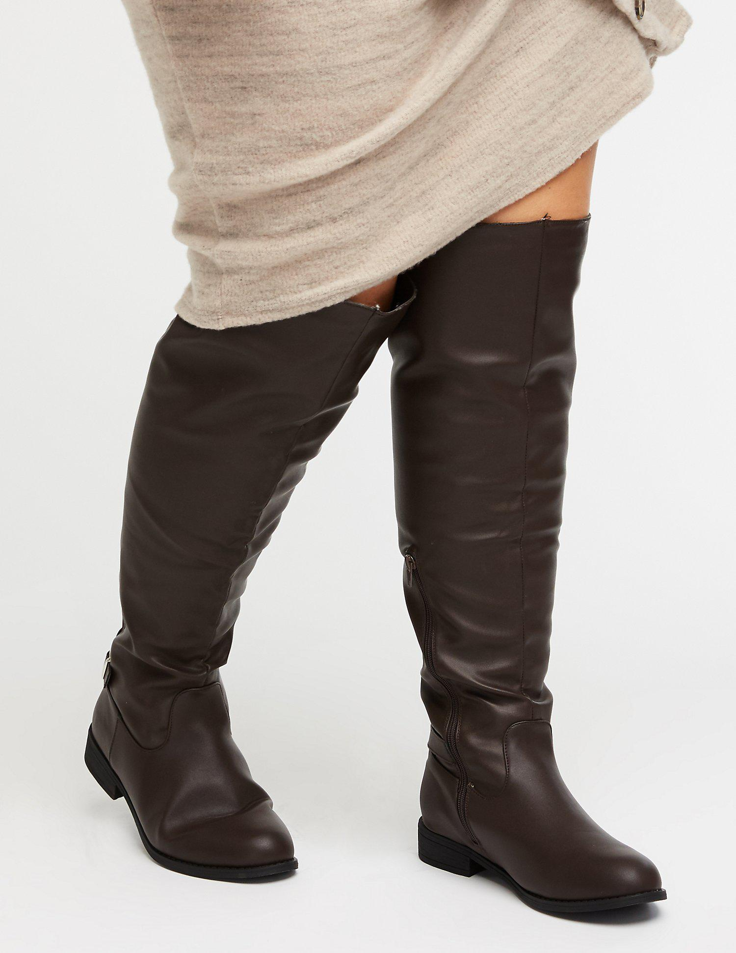 af492d6bbf1 Lyst - Charlotte Russe Wide Over The Knee Boots in Brown