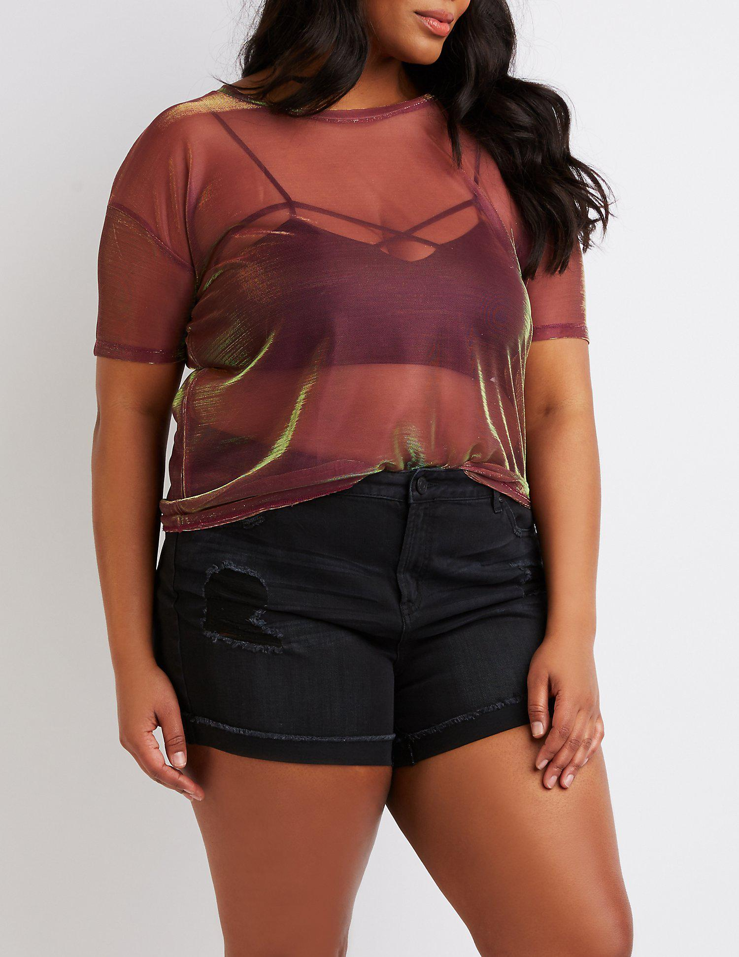 8f898e5718a50 Lyst - Charlotte russe Plus Size Iridescent Mesh Tee - Save 27%