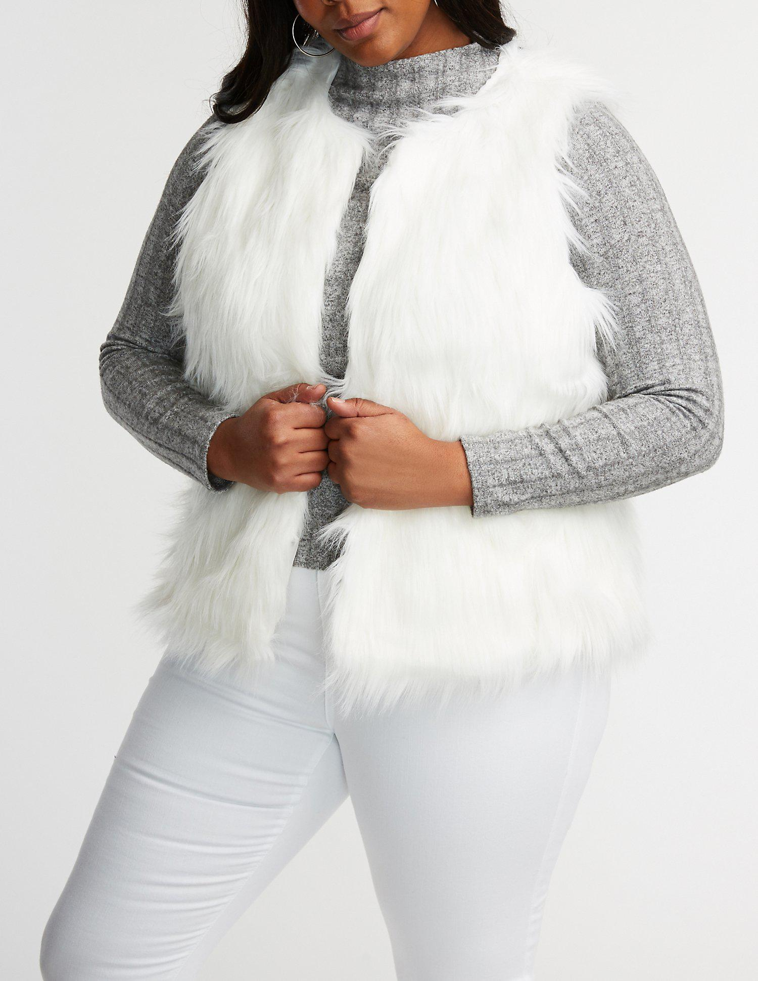 6c0a95acca0 Lyst - Charlotte Russe Plus Size Faux Fur Jacket in White