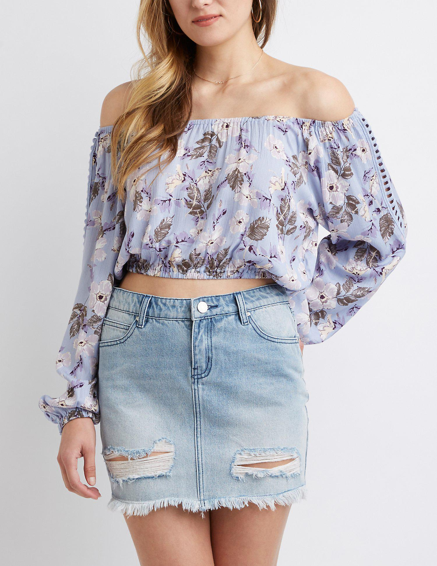 55cafa948dec3 Lyst - Charlotte Russe Floral Off The Shoulder Top in Blue