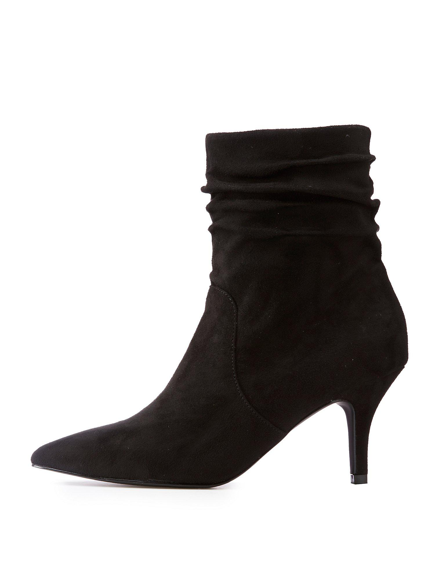 42f2bc79b25b Lyst - Charlotte Russe Ruched Pointed Toe Booties in Black