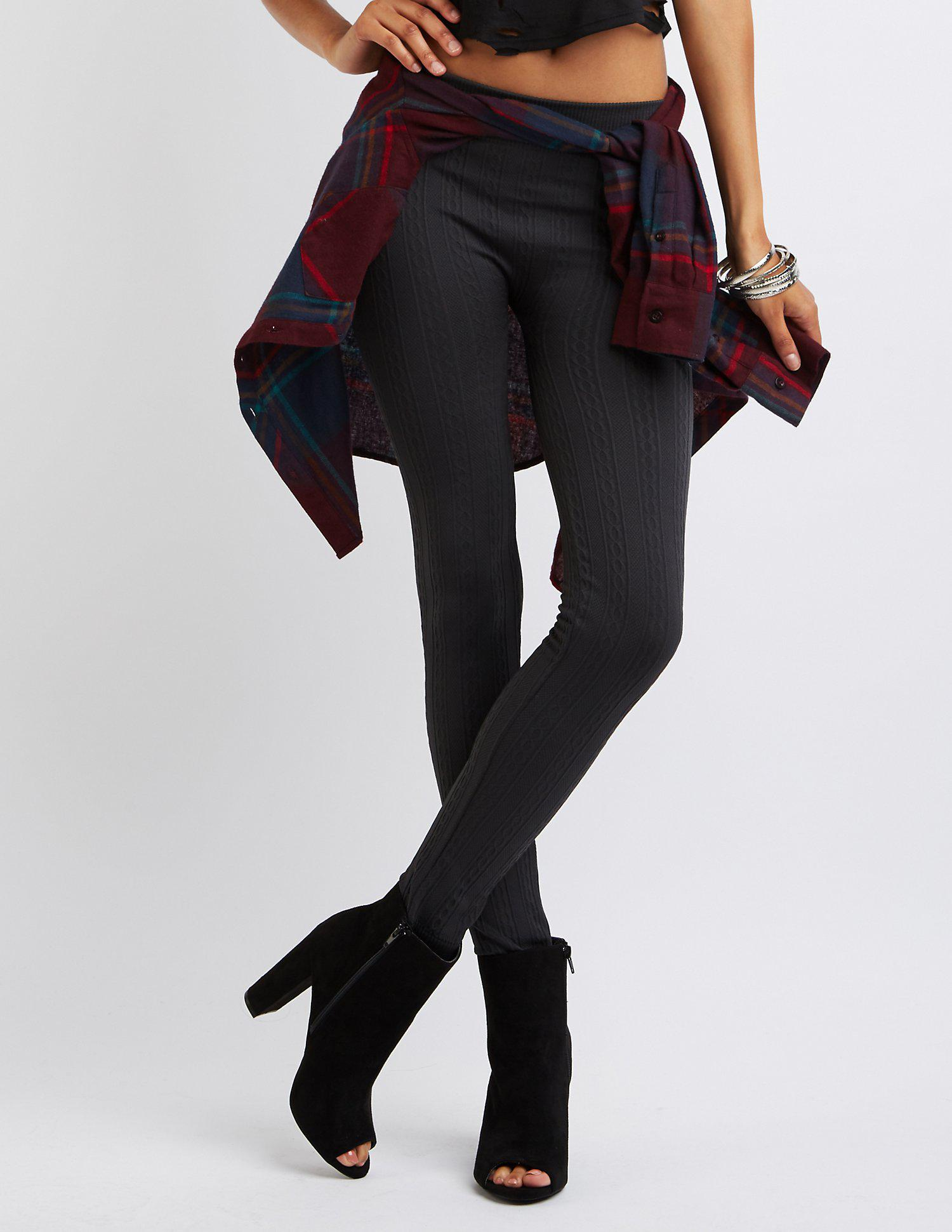 4680c9c108de1e Lyst - Charlotte Russe Fleece Lined Textured Leggings in Gray