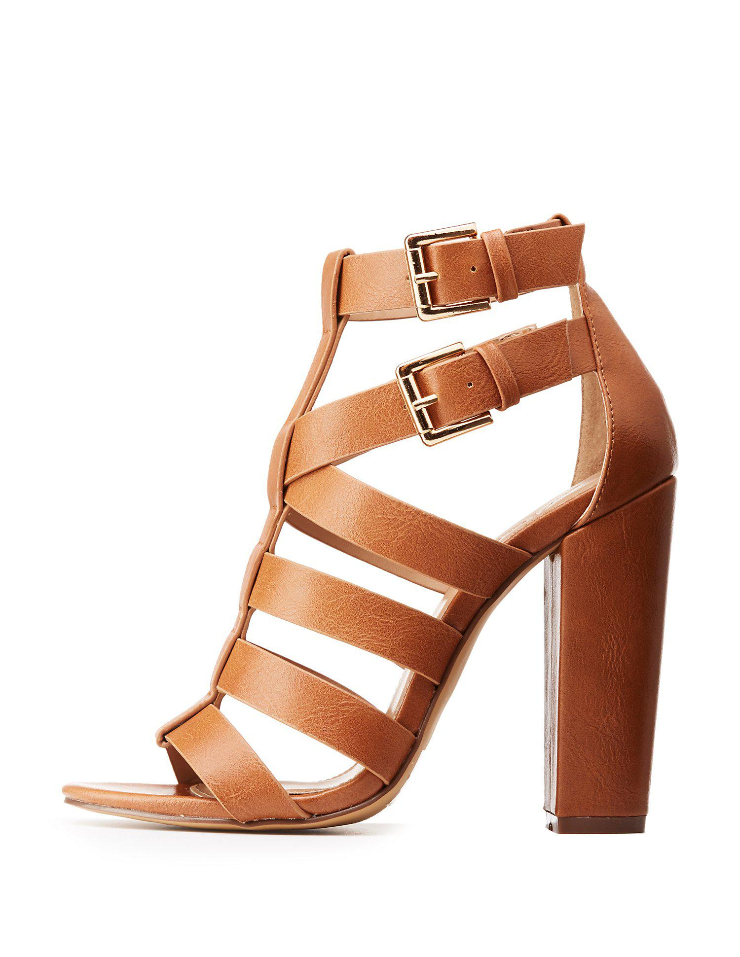 19ede31448cf1f Lyst - Charlotte Russe Strappy Block Heel Sandals in Brown