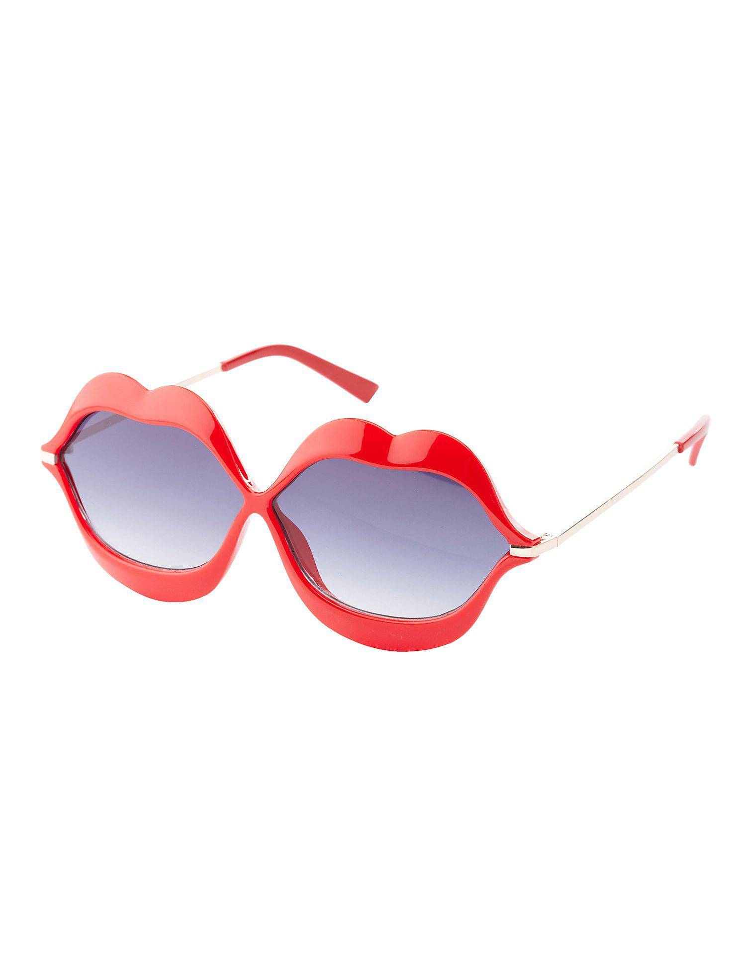 629ac986a1e Lyst - Charlotte Russe Plastic Lips Sunglasses in Red