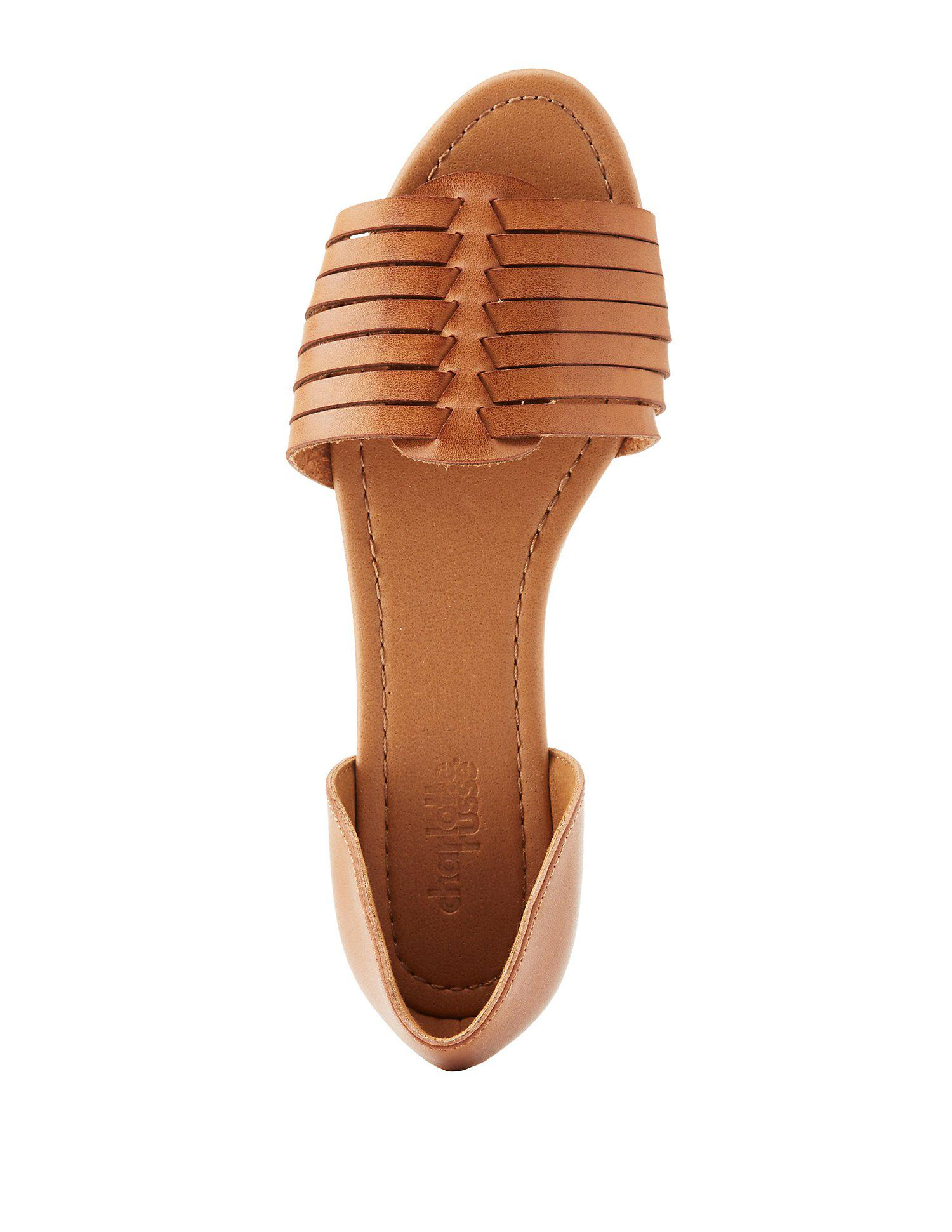 c1760f9ad55a Lyst - Charlotte Russe Two-piece Huarache Sandals in Brown