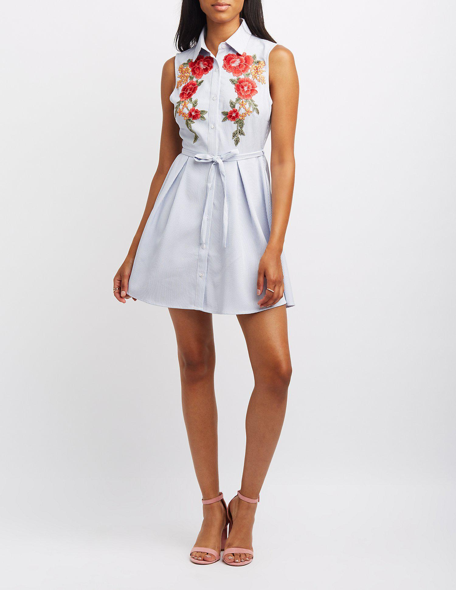 2ab52b91be Lyst - Charlotte Russe Embroidered Striped Button-up Skater Dress in ...