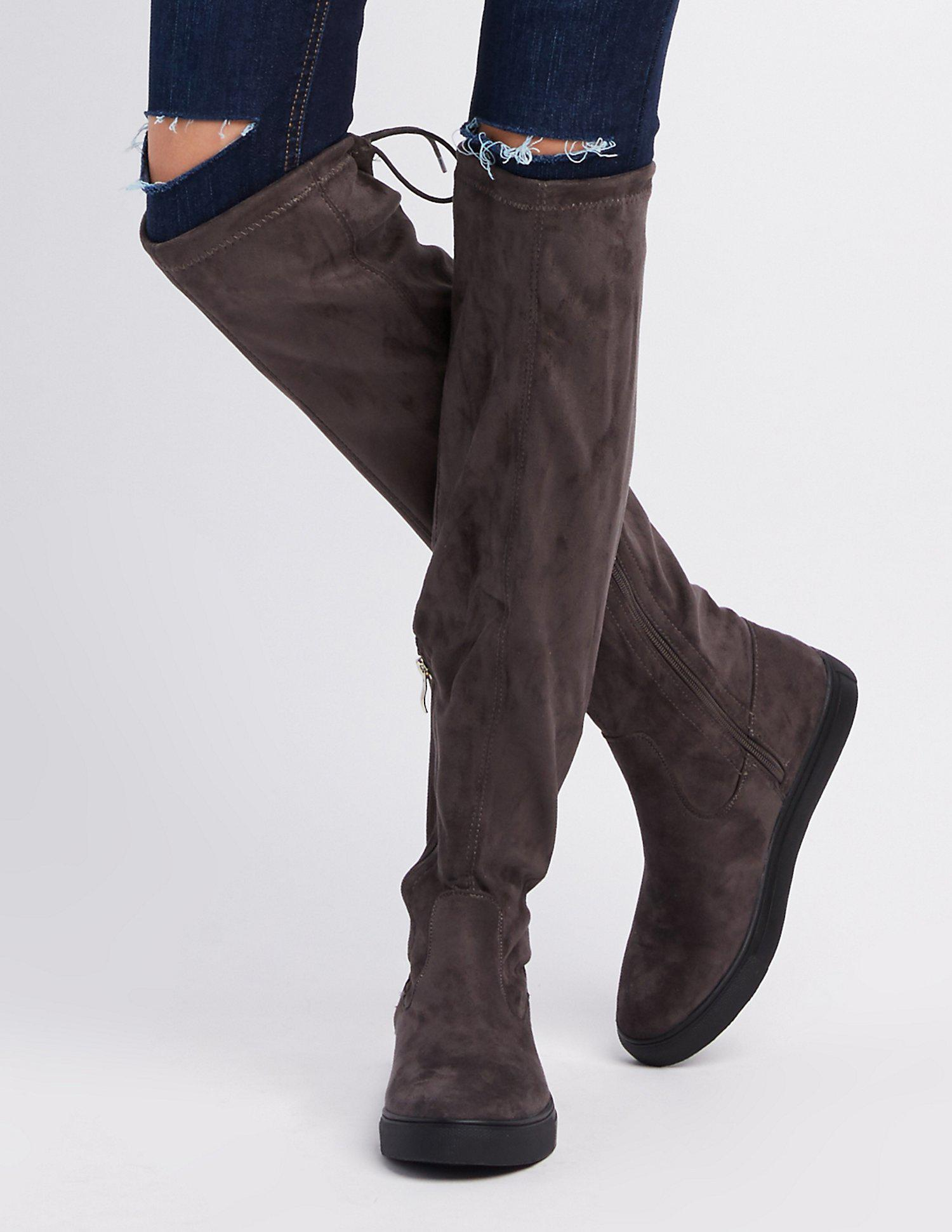 867ec9ca737 Lyst - Charlotte Russe Qupid Tie-back Over-the-knee Flat Boots in Gray