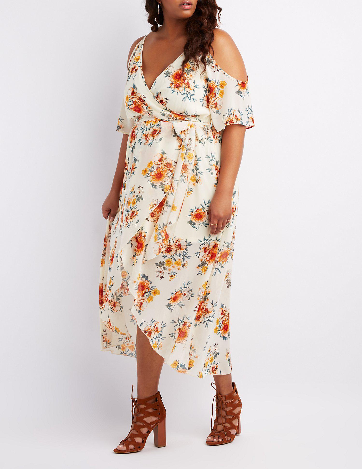 b3f4079b95f Lyst - Charlotte Russe Plus Size Floral Surplice Cold Shoulder Maxi ...