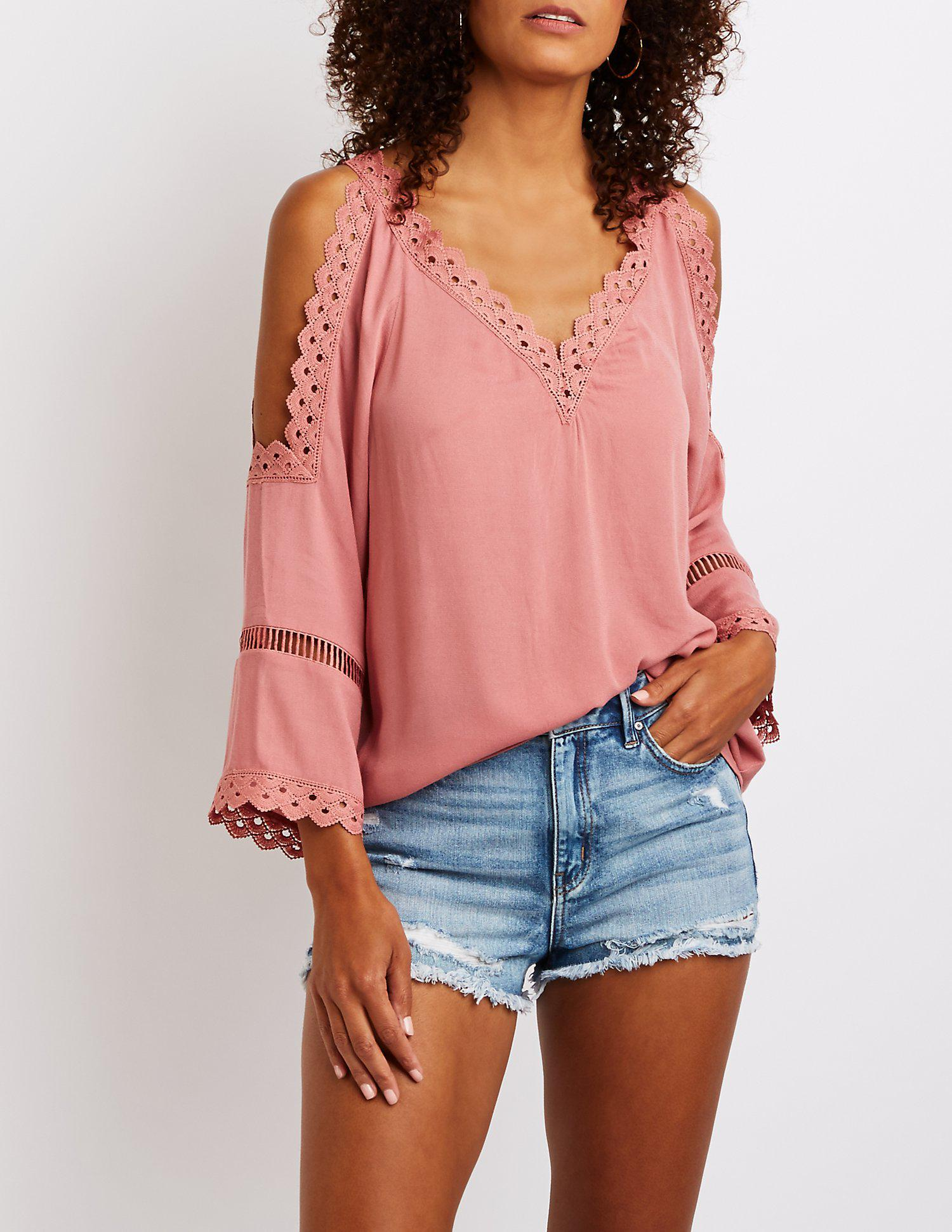768a65c7b57d44 Lyst - Charlotte Russe Crochet Cold Shoulder Top in Purple