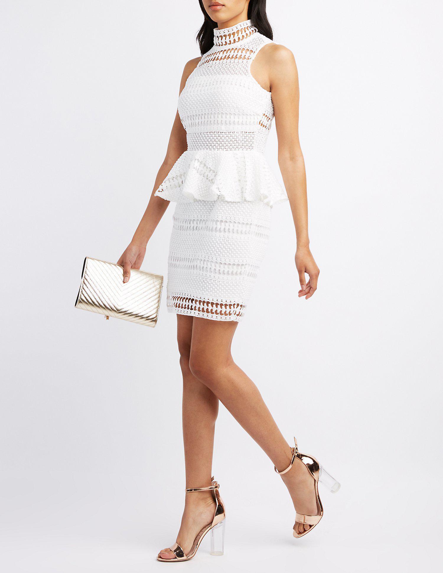 292d27ace8 Lyst - Charlotte Russe Crochet Lace Mock Neck Peplum Dress in White