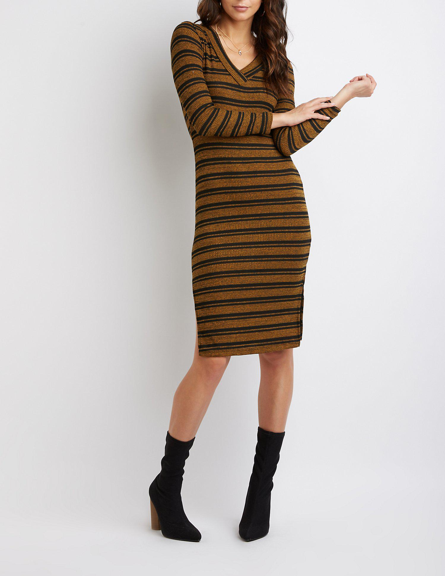 87fc4a04853 Lyst - Charlotte Russe Striped Ribbed Knit Bodycon Sweater Dress in ...