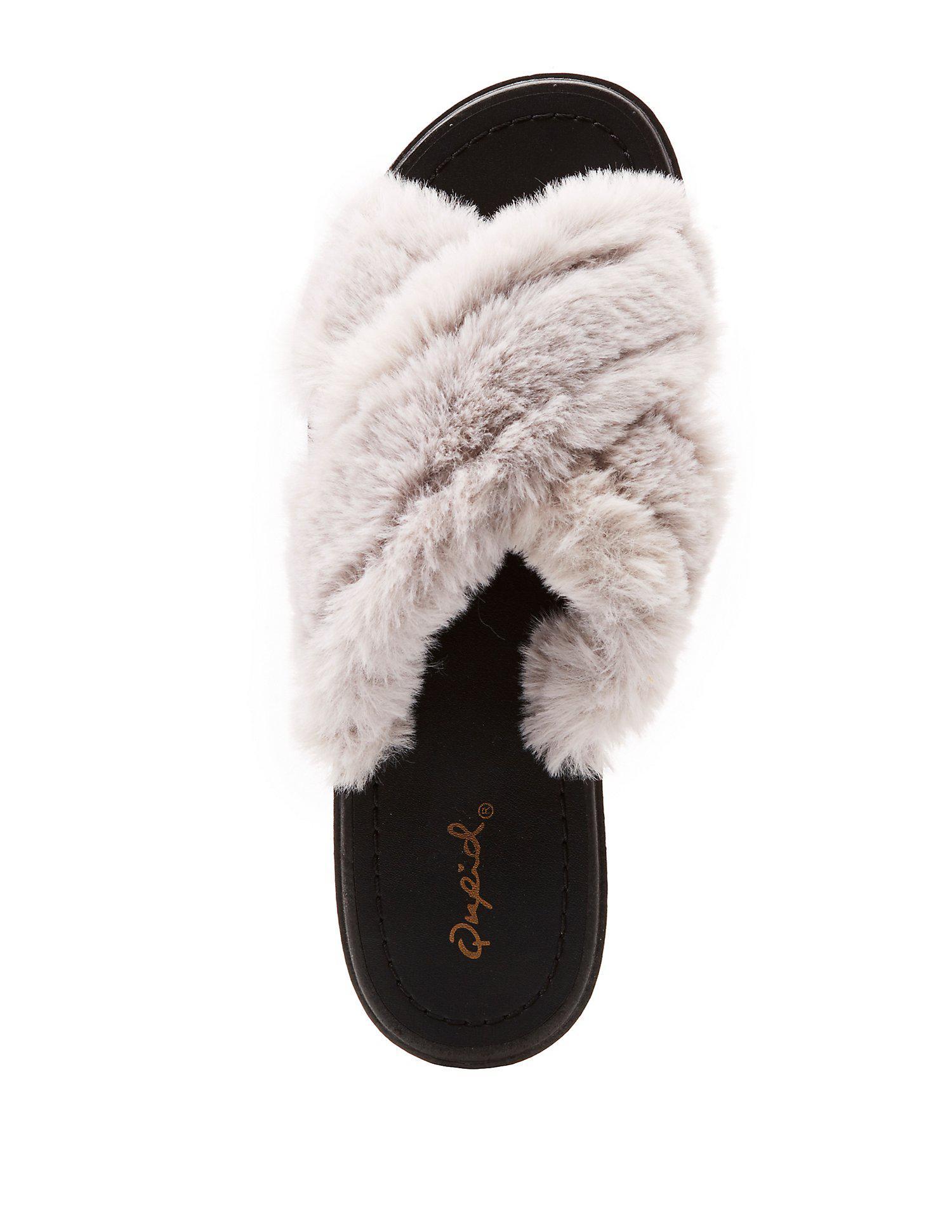 11f3cd48bd6 Lyst - Charlotte Russe Qupid Faux Fur X Slide Sandals in Gray