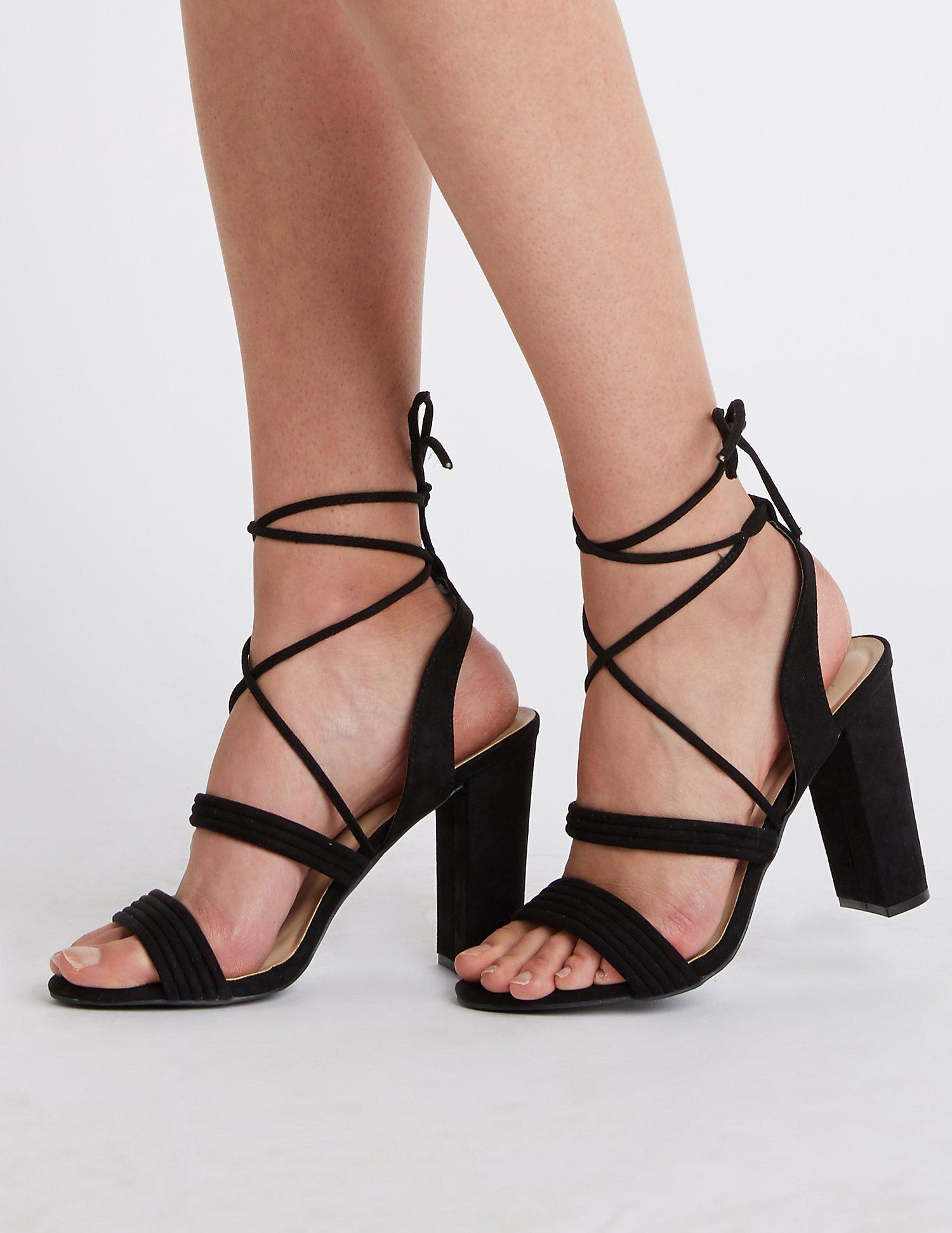f3bda25681c6 Lyst - Charlotte Russe Ankle Wrap Block Heel Sandals in Black