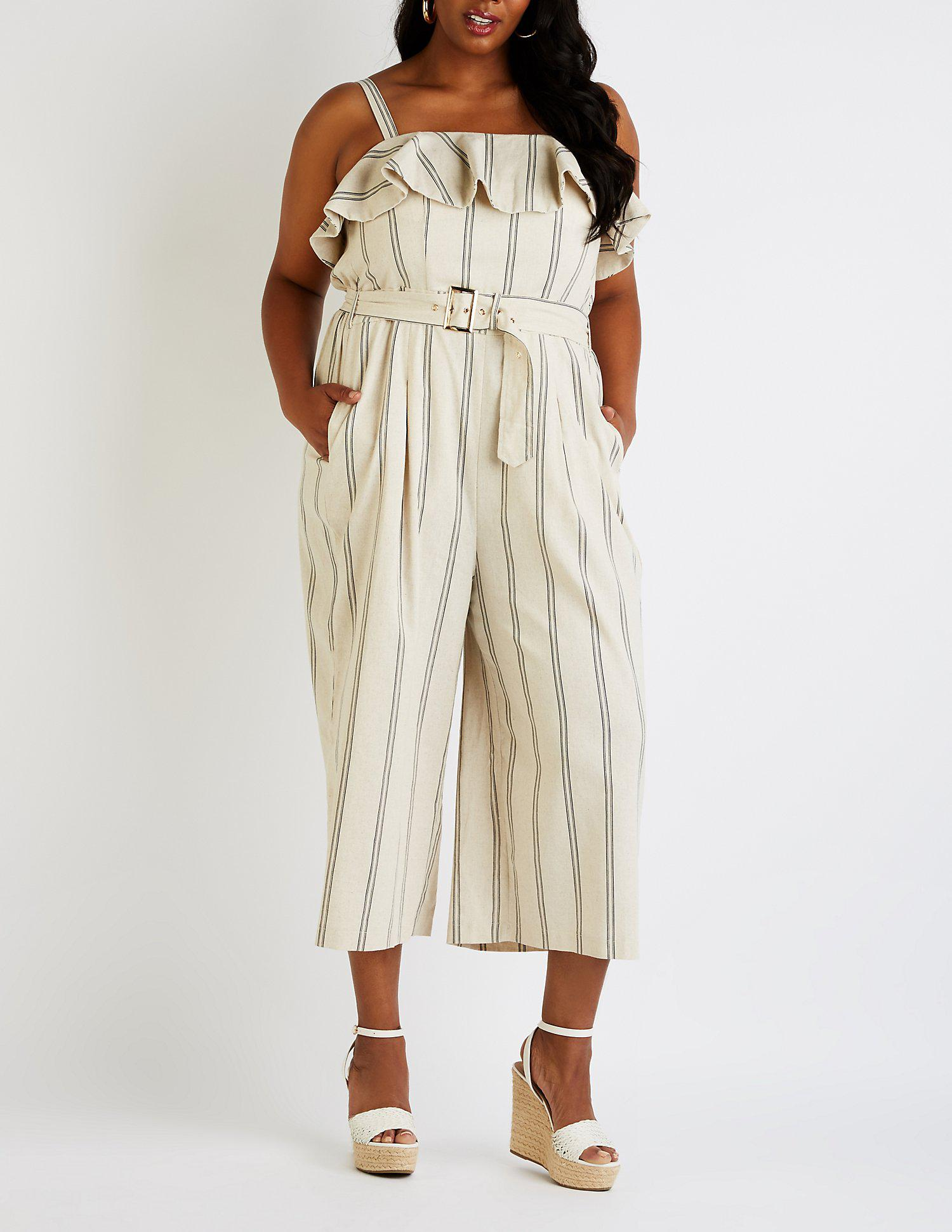 aa28a0b758d21 Lyst - Charlotte Russe Plus Size Striped Culotte Jumpsuit in Natural