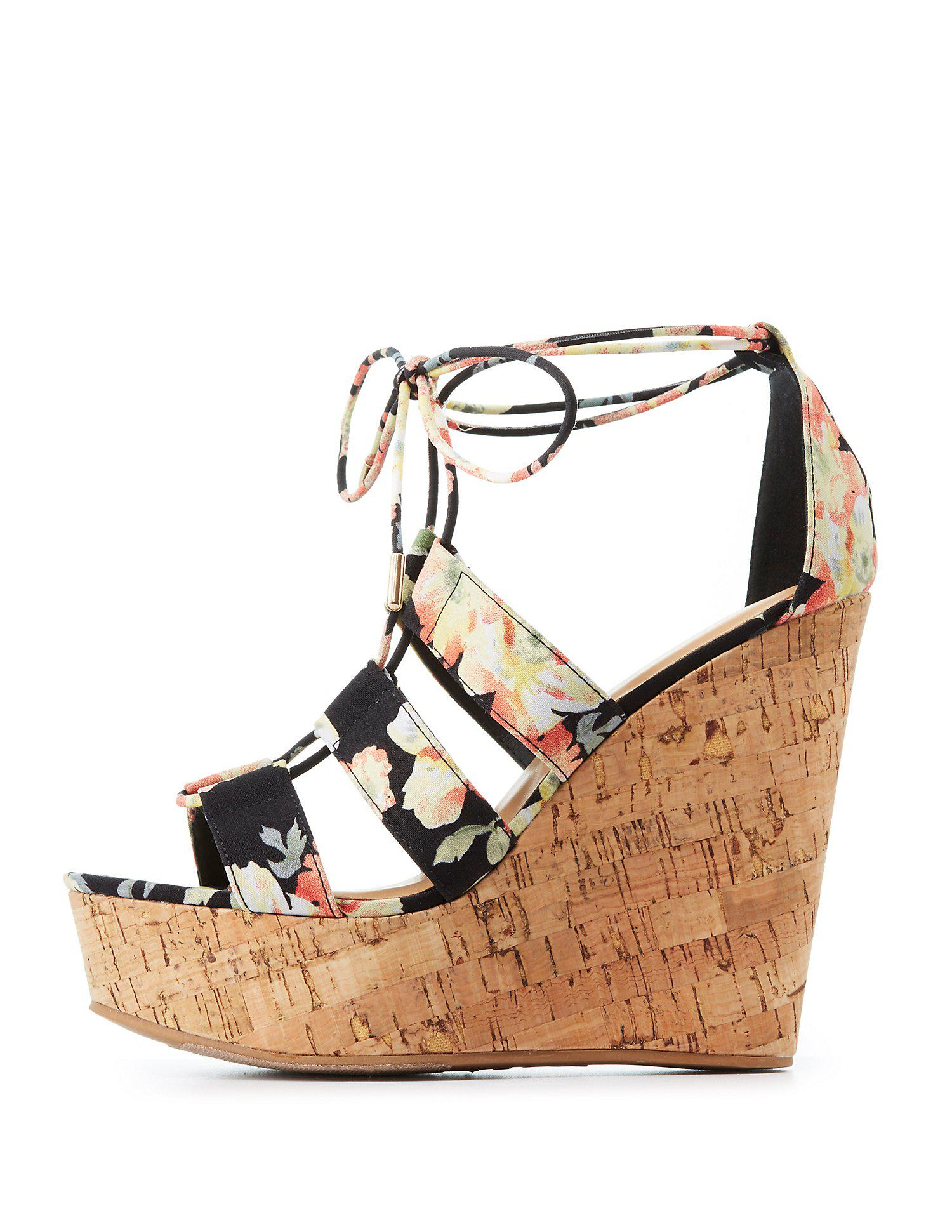 2f0288ad20e Lyst - Charlotte Russe Bamboo Floral Lace-up Wedge Sandals