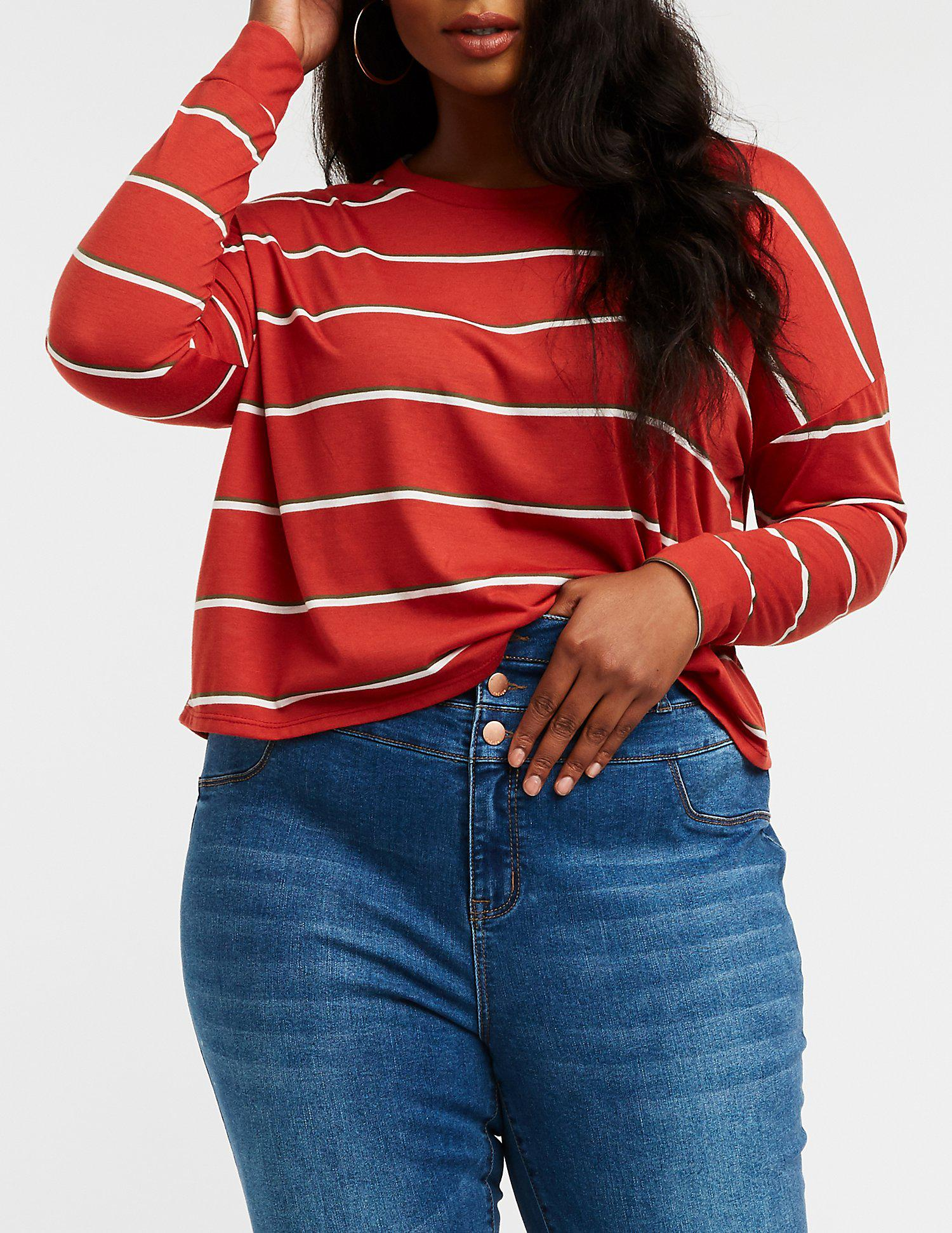 d5ade42eb8767e Lyst - Charlotte Russe Plus Size Striped Crop Top in Red