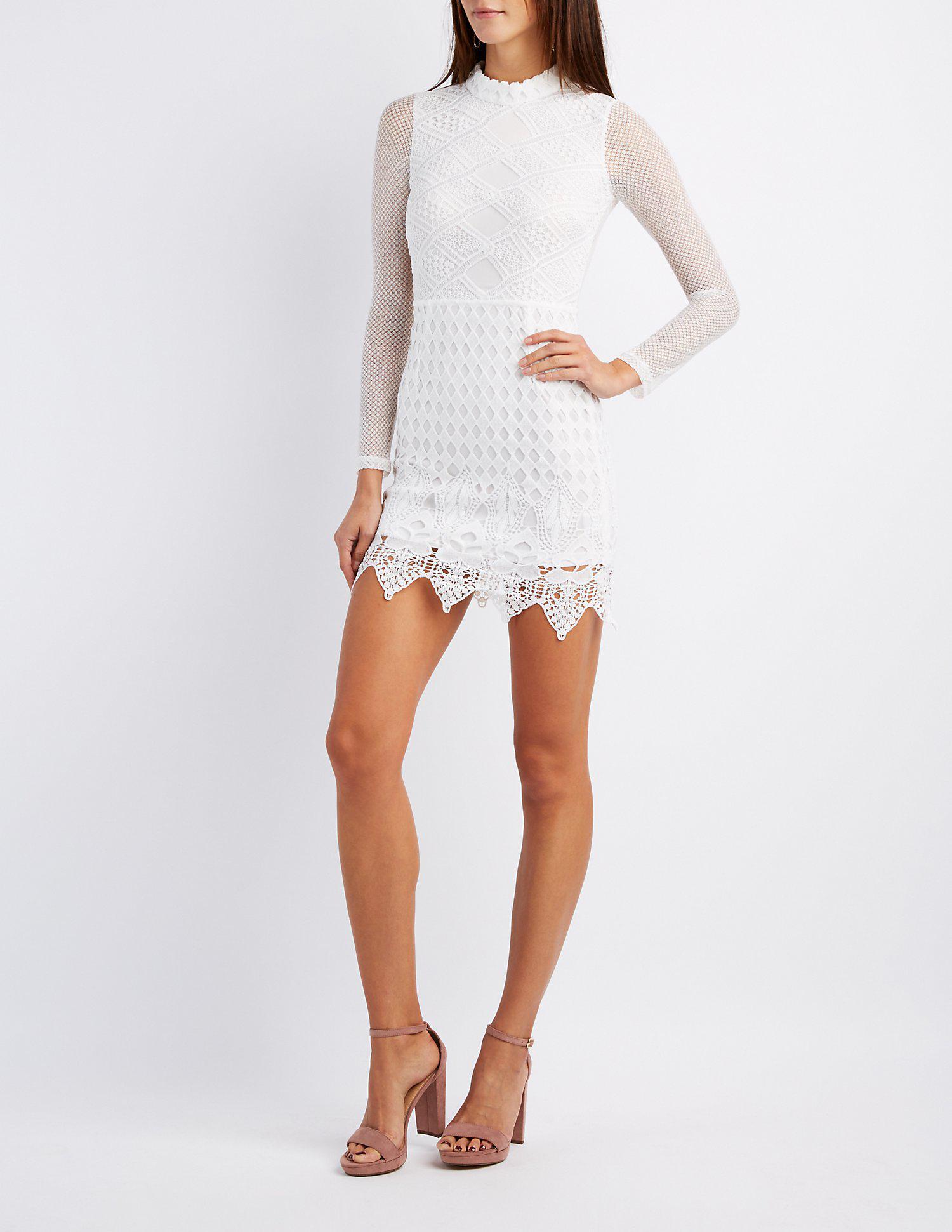 e1d1e0dca2 Lyst - Charlotte Russe Lace   Crochet Mock Neck Bodycon Dress in White