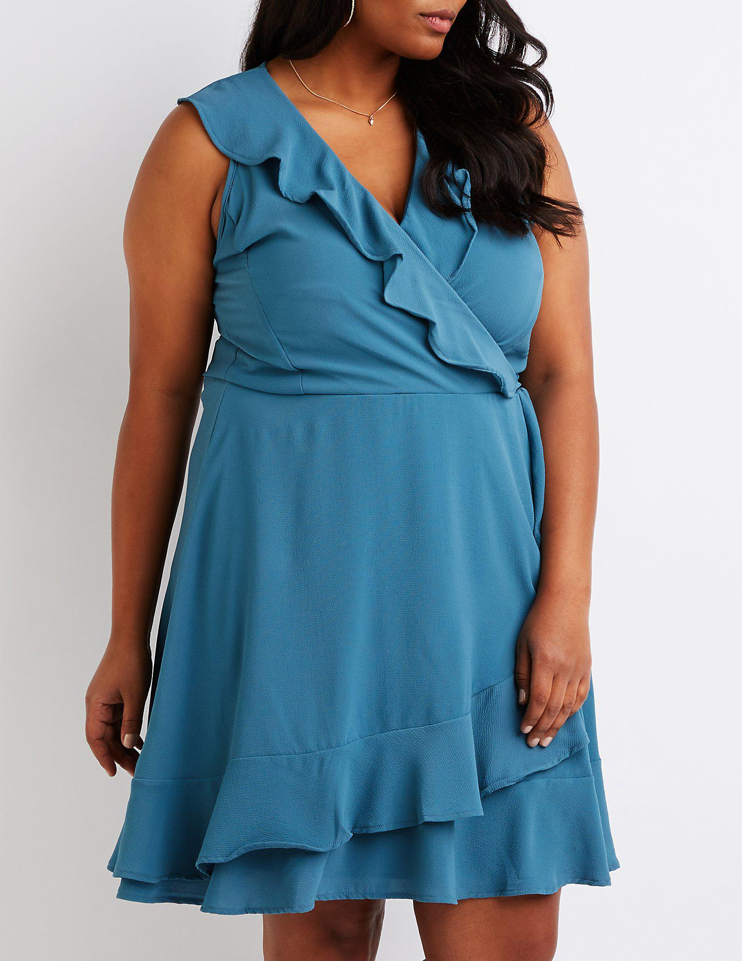 c6b60ec6ef Lyst - Charlotte Russe Plus Size Wrap Skater Dress in Blue