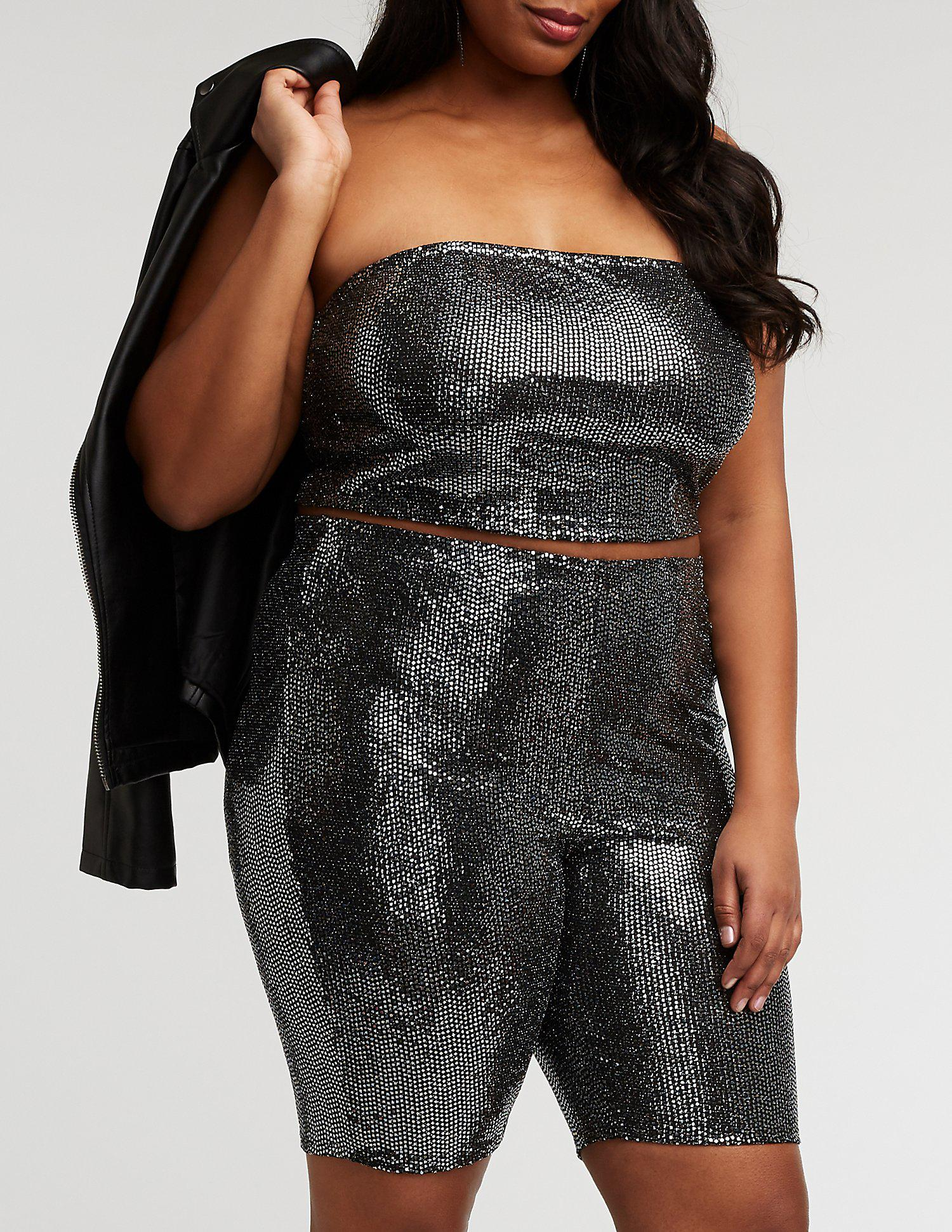 2246b0160e8 Lyst - Charlotte Russe Plus Size Sequin Tube Top in Black - Save ...