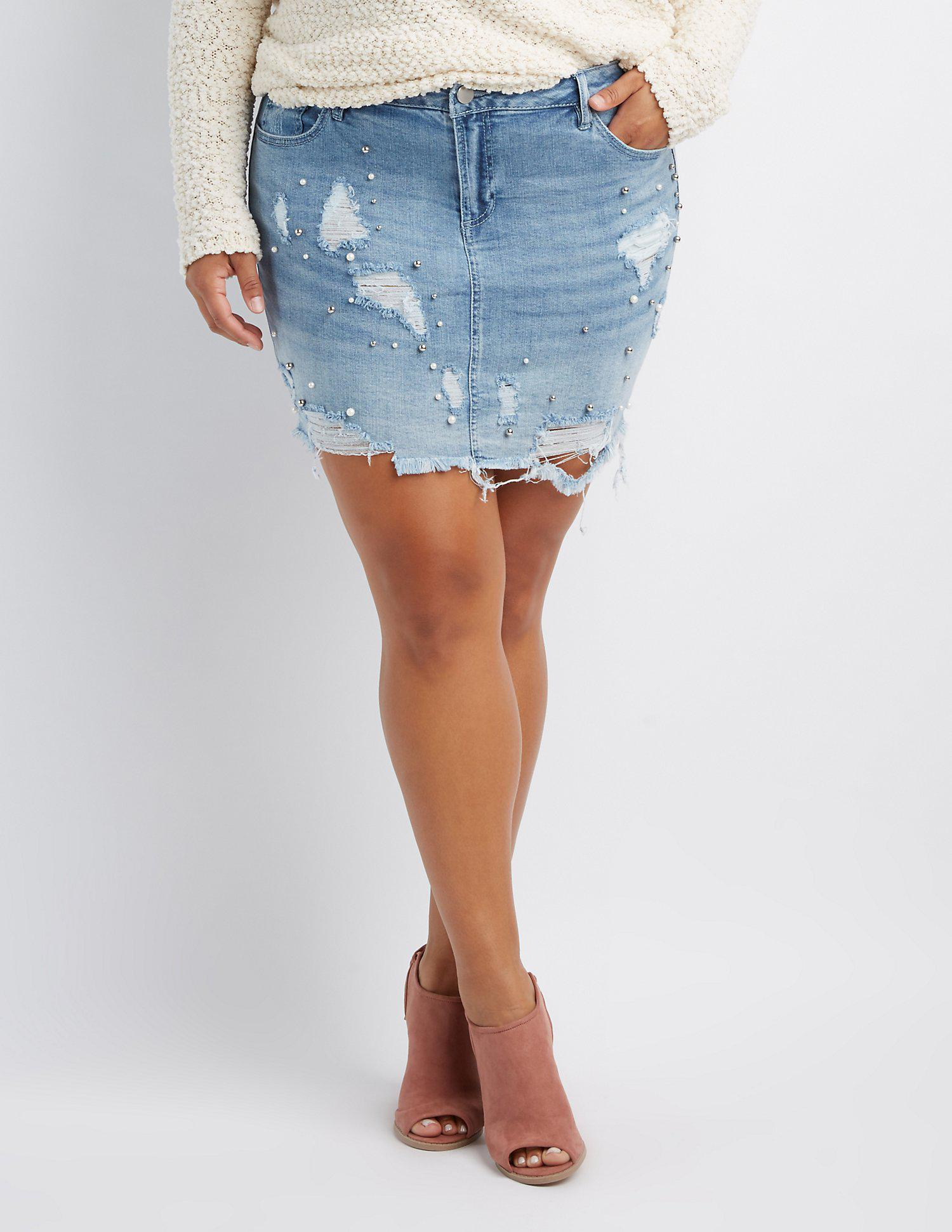 4d5ae471cb Lyst - Charlotte Russe Plus Size Refuge Destroyed & Faux Peal Denim ...
