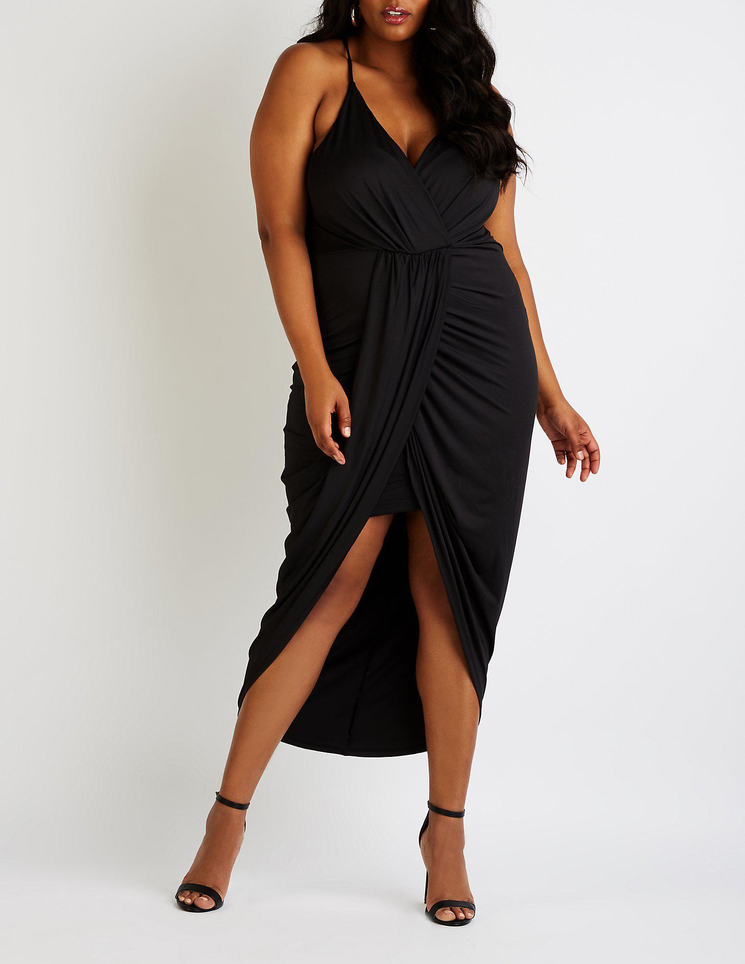 Lyst - Charlotte Russe Plus Size Wrap Maxi Dress in Black