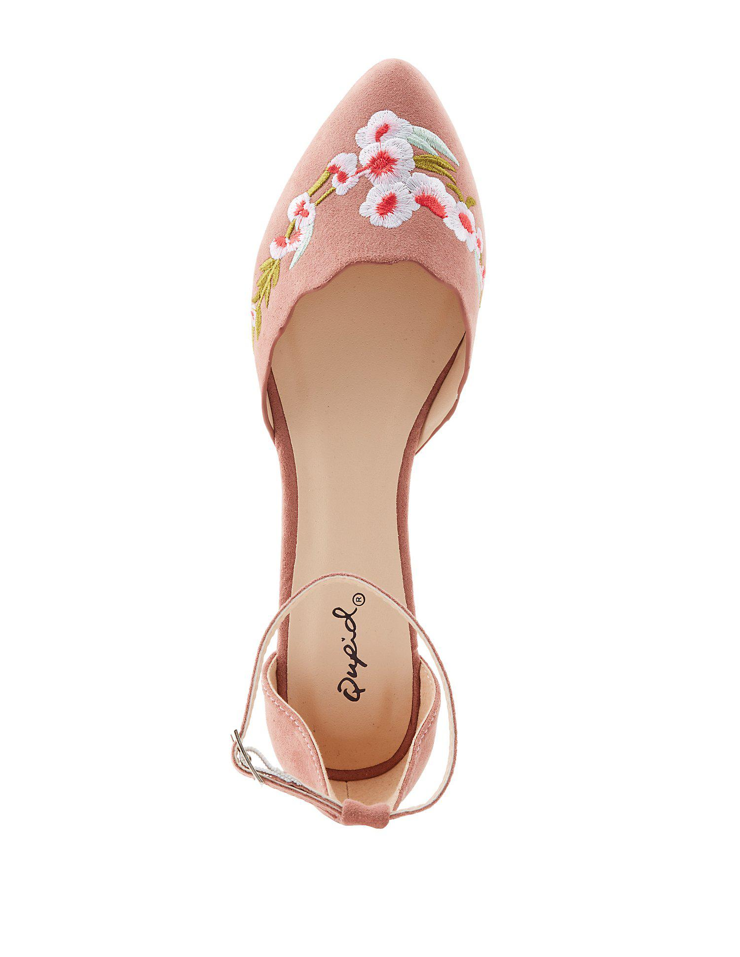 1f042e2b3aeb1 Lyst - Charlotte Russe Qupid Embroidered Ankle Strap D orsay Flats ...