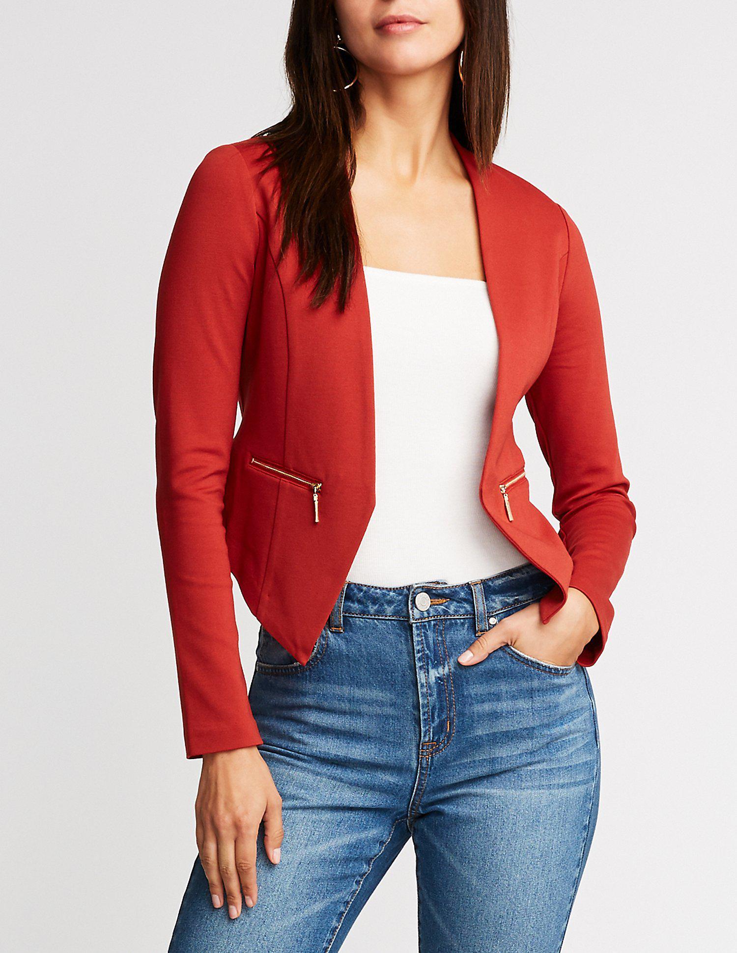 b3080b11b1b Lyst - Charlotte Russe Ponte Collarless Crop Blazer in Red - Save ...