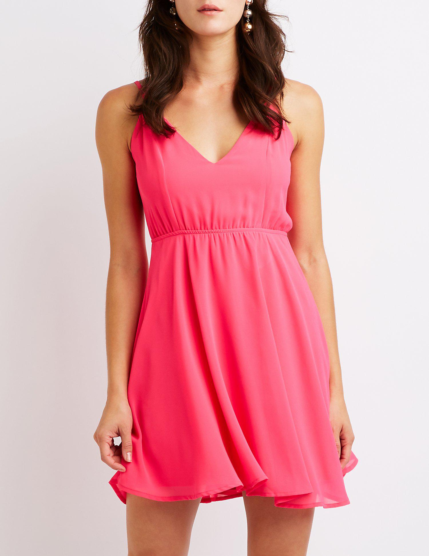 4a87bfc0e5d Lyst - Charlotte Russe Strappy Open Back Skater Dress in Pink - Save ...