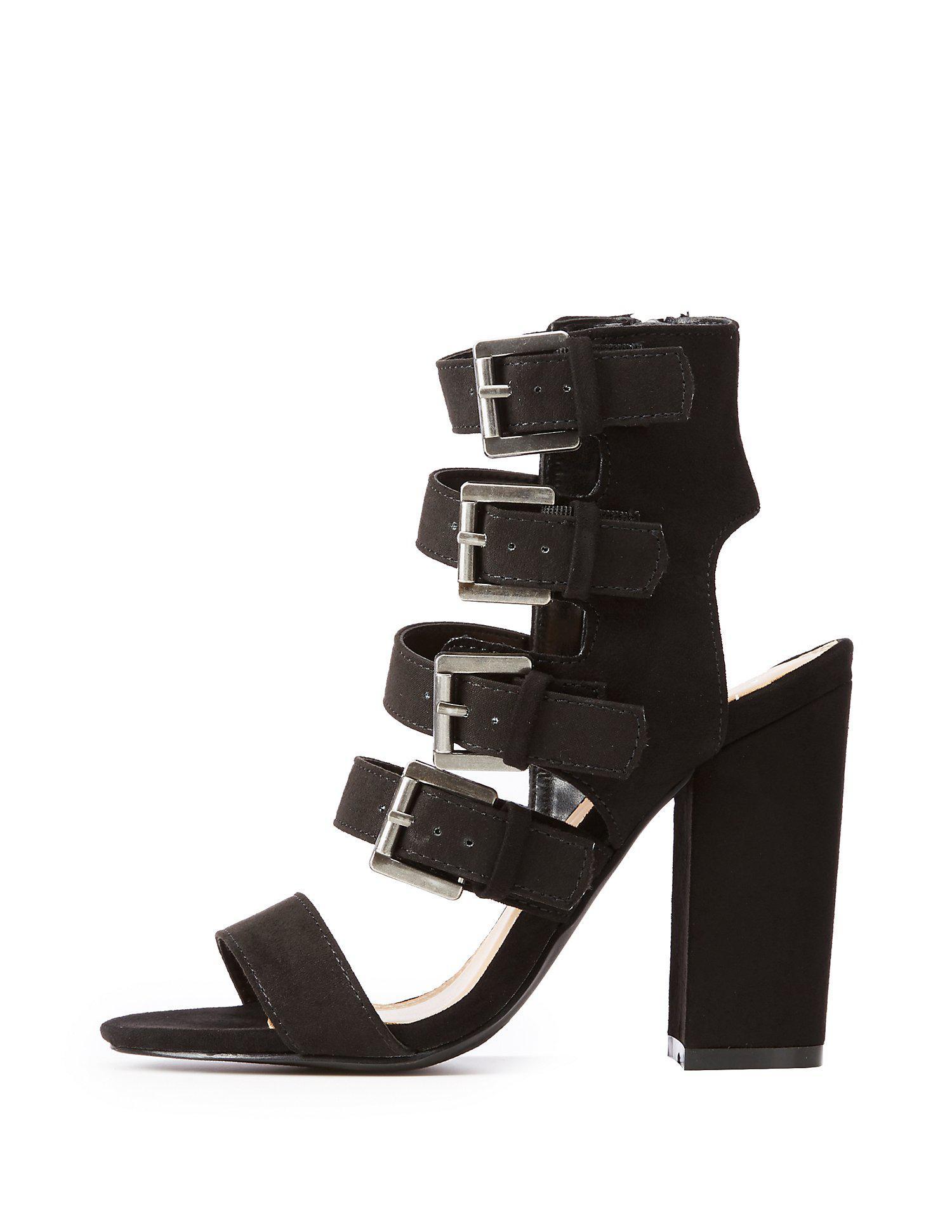 2d80f341fdb Lyst - Charlotte Russe Buckle Strap Block Heel Sandals in Black
