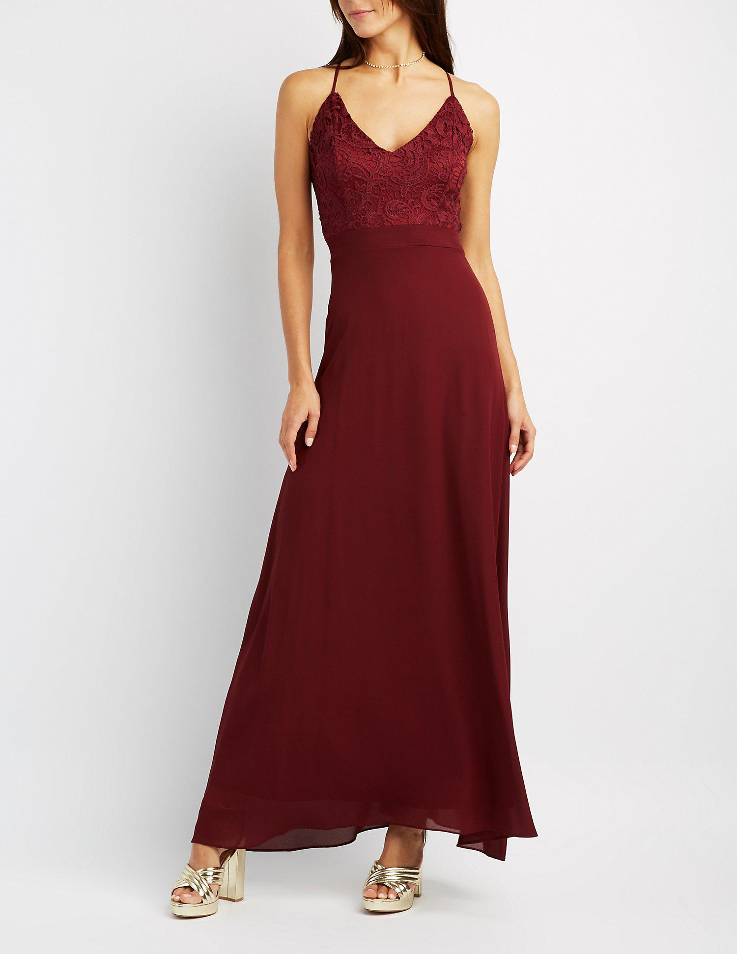 bde1a3a21e7 Lyst - Charlotte Russe Lace   Chiffon Strappy Maxi Dress in Red