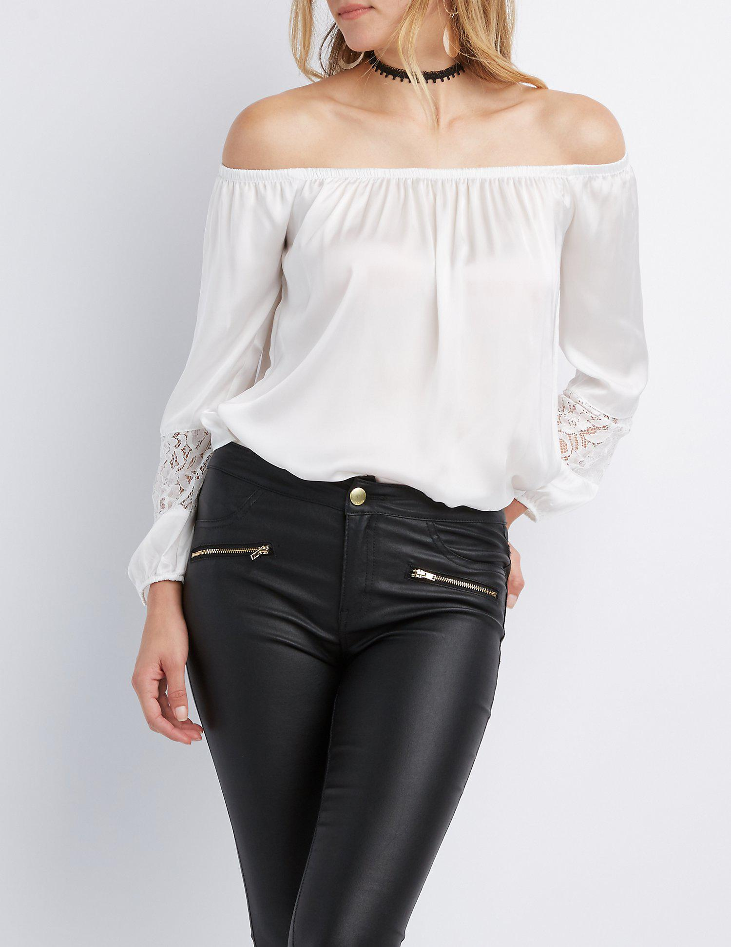 673224b1c7a9d Lyst - Charlotte Russe Satin Off-the-shoulder Top in White - Save 50%