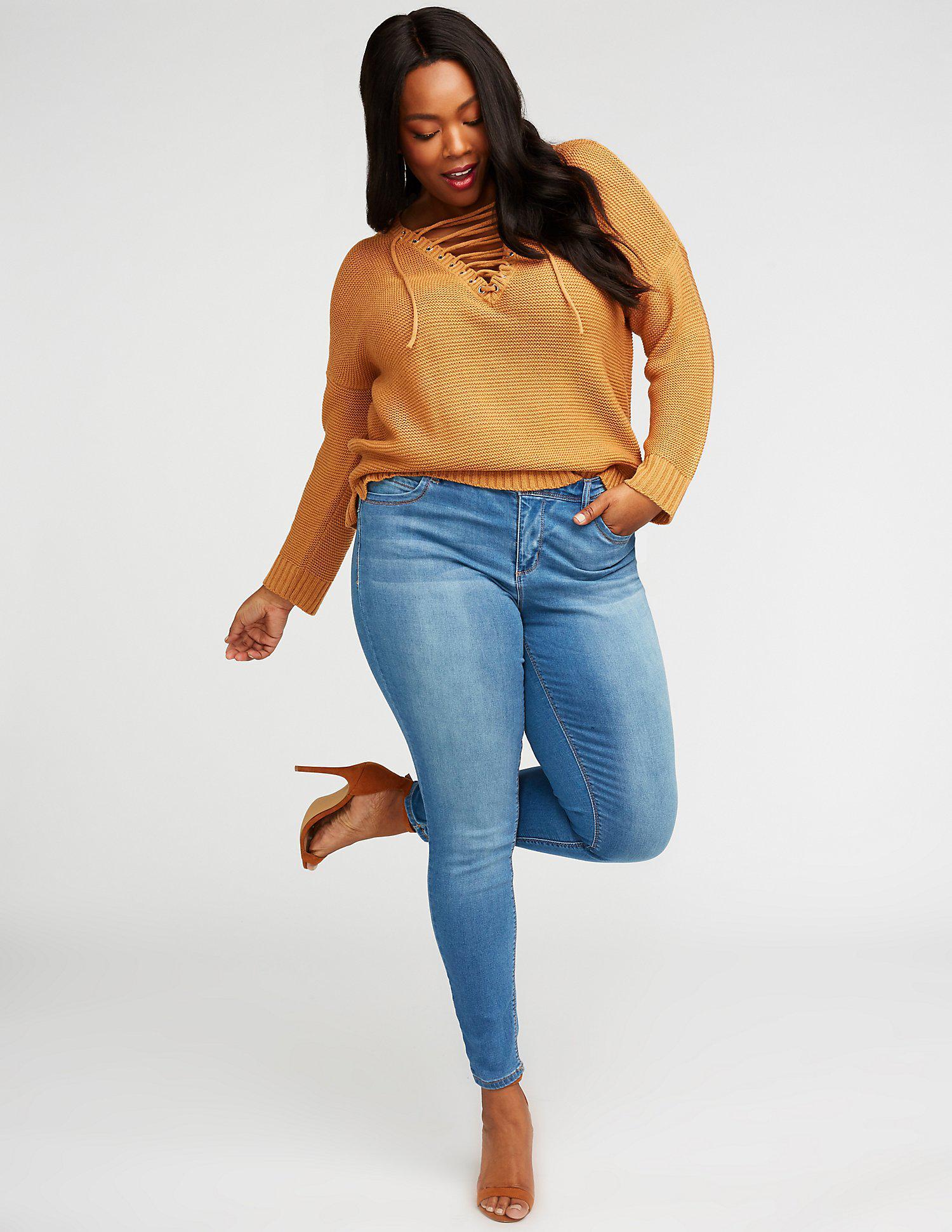 ec8f290425d Lyst - Charlotte Russe Plus Size Dollhouse Skinny Jeans in Blue