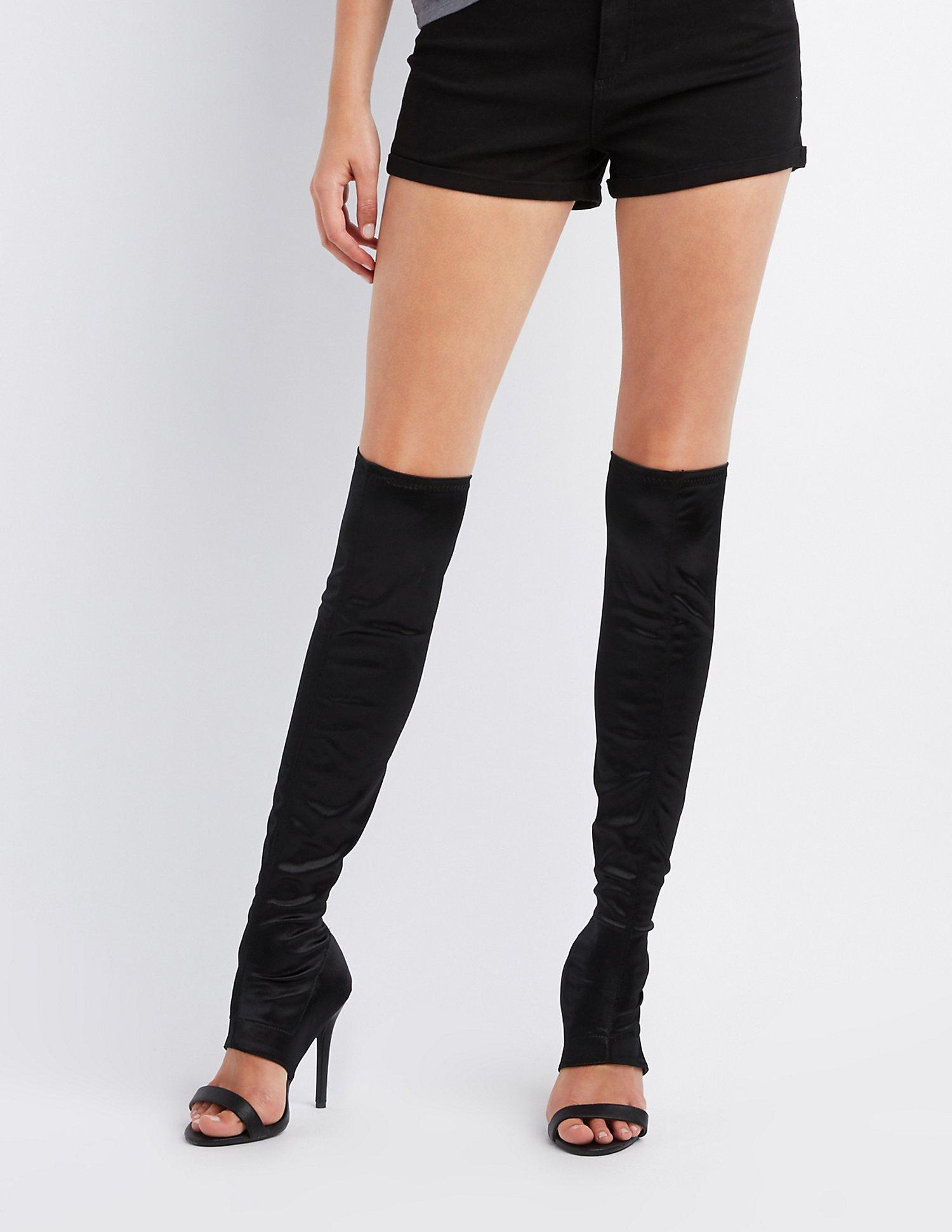 9e4dd80e06eb Lyst - Charlotte Russe Qupid Cut-out Over-the-knee Stiletto Boots in ...