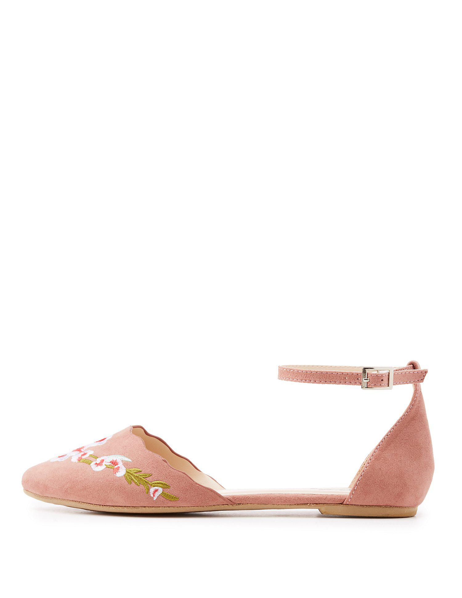 fed2c38dadd Lyst - Charlotte Russe Qupid Embroidered Ankle Strap D orsay Flats ...