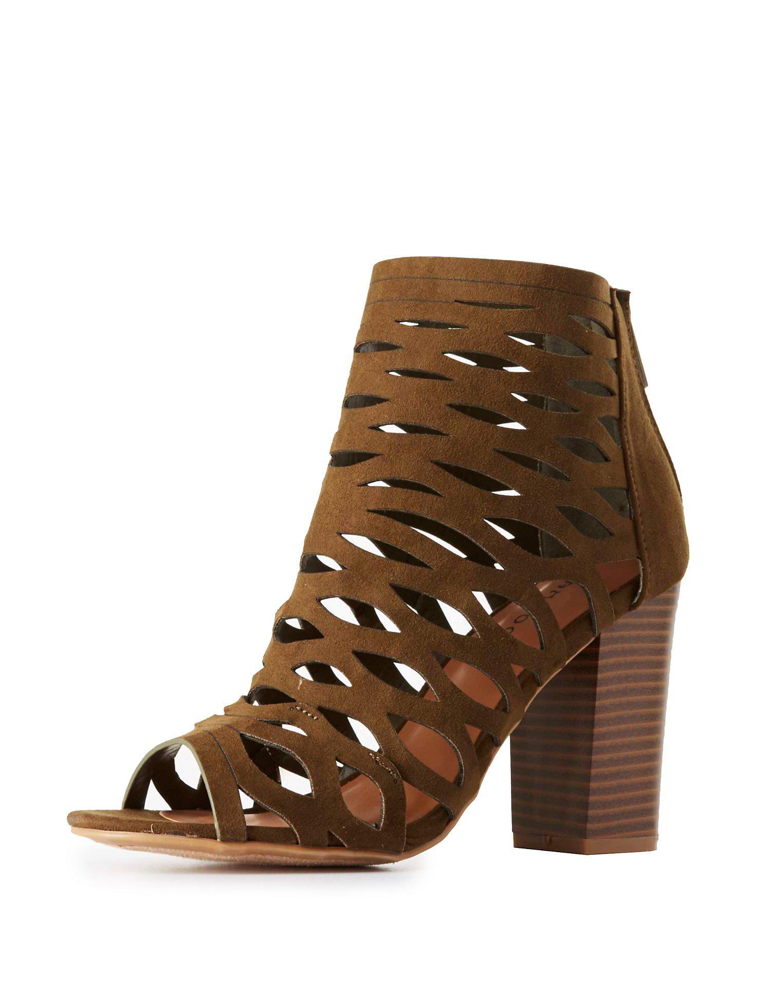 c18b30e76ee Lyst - Charlotte Russe Bamboo Caged Chunky Heel Sandals in Green