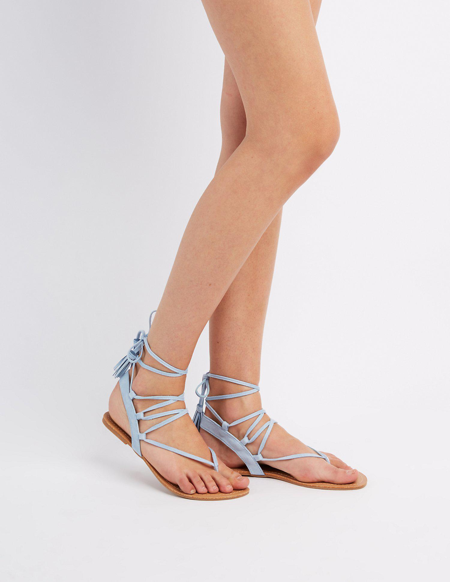 ed2f1c1021a Lyst - Charlotte Russe Faux Suede Lace-up Thong Sandals in Blue